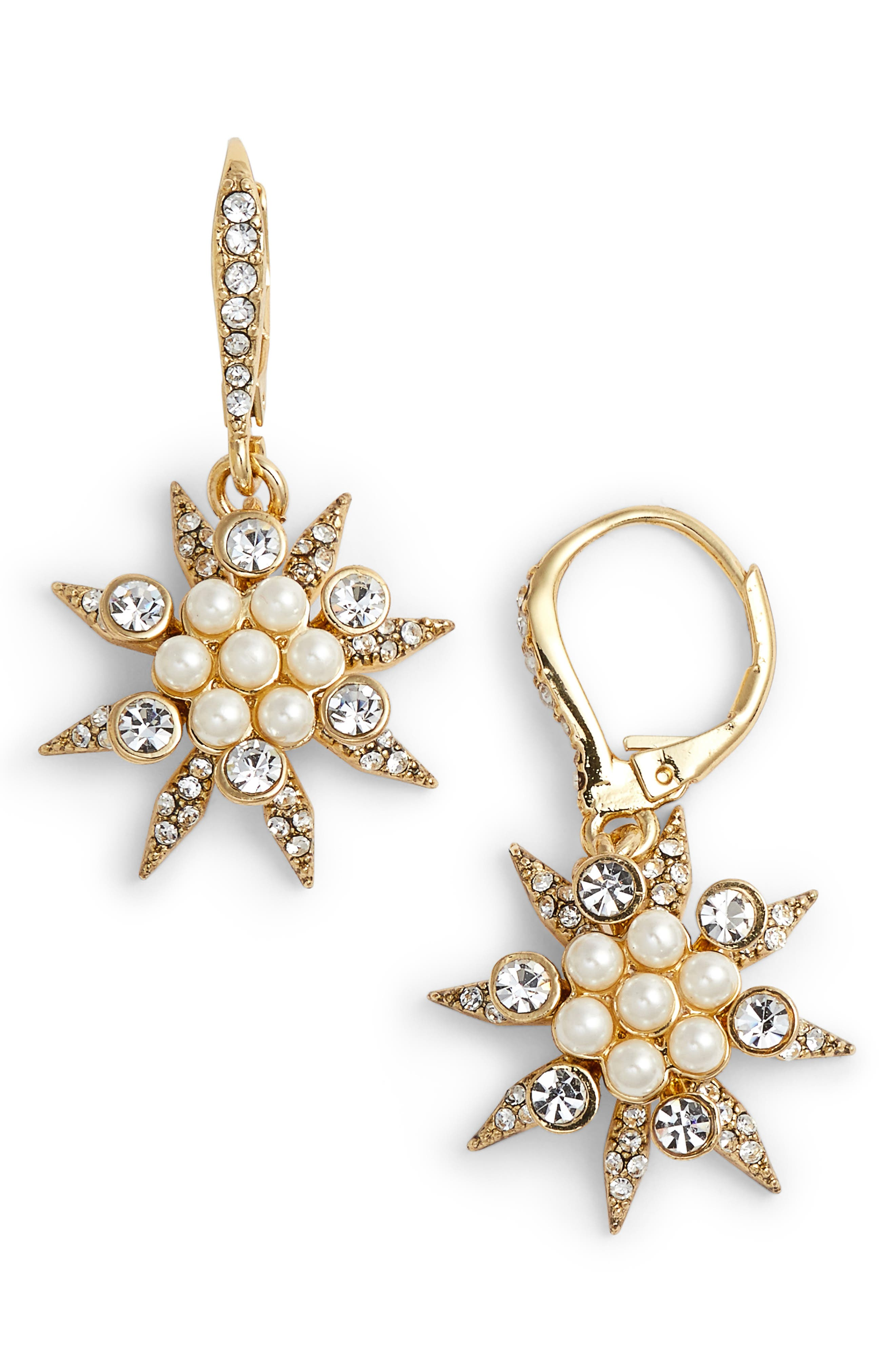 Star Cluster Drop Earrings,                         Main,                         color, Gold/ Champagne