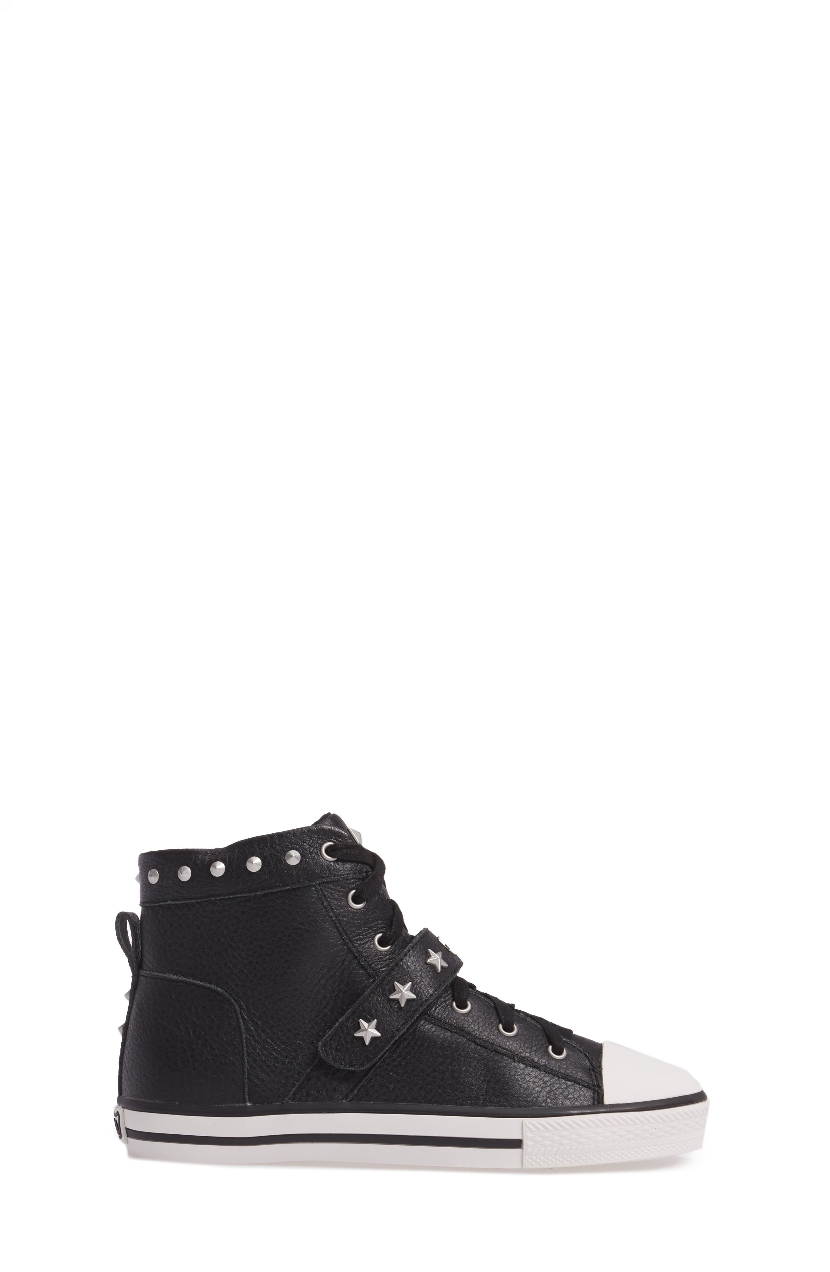 Vava Curve Studded High Top Sneaker,                             Alternate thumbnail 3, color,                             Black Leather