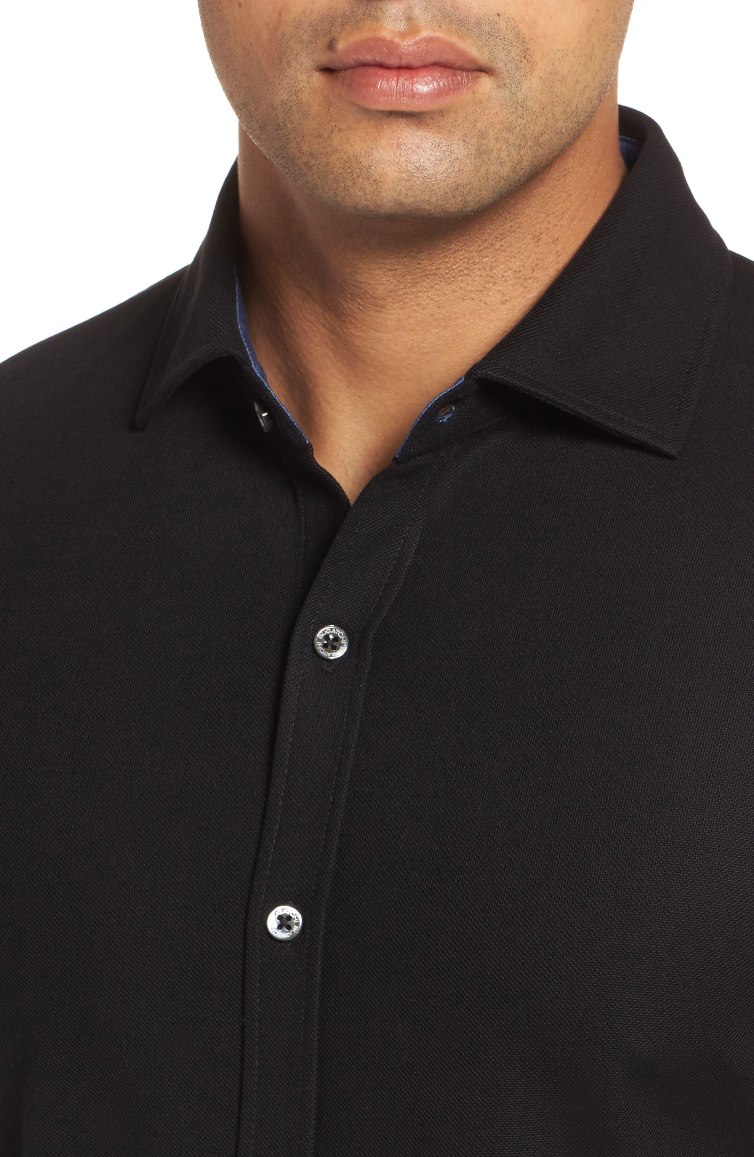 Classic Fit Piqué Knit Shirt,                             Alternate thumbnail 4, color,                             Black