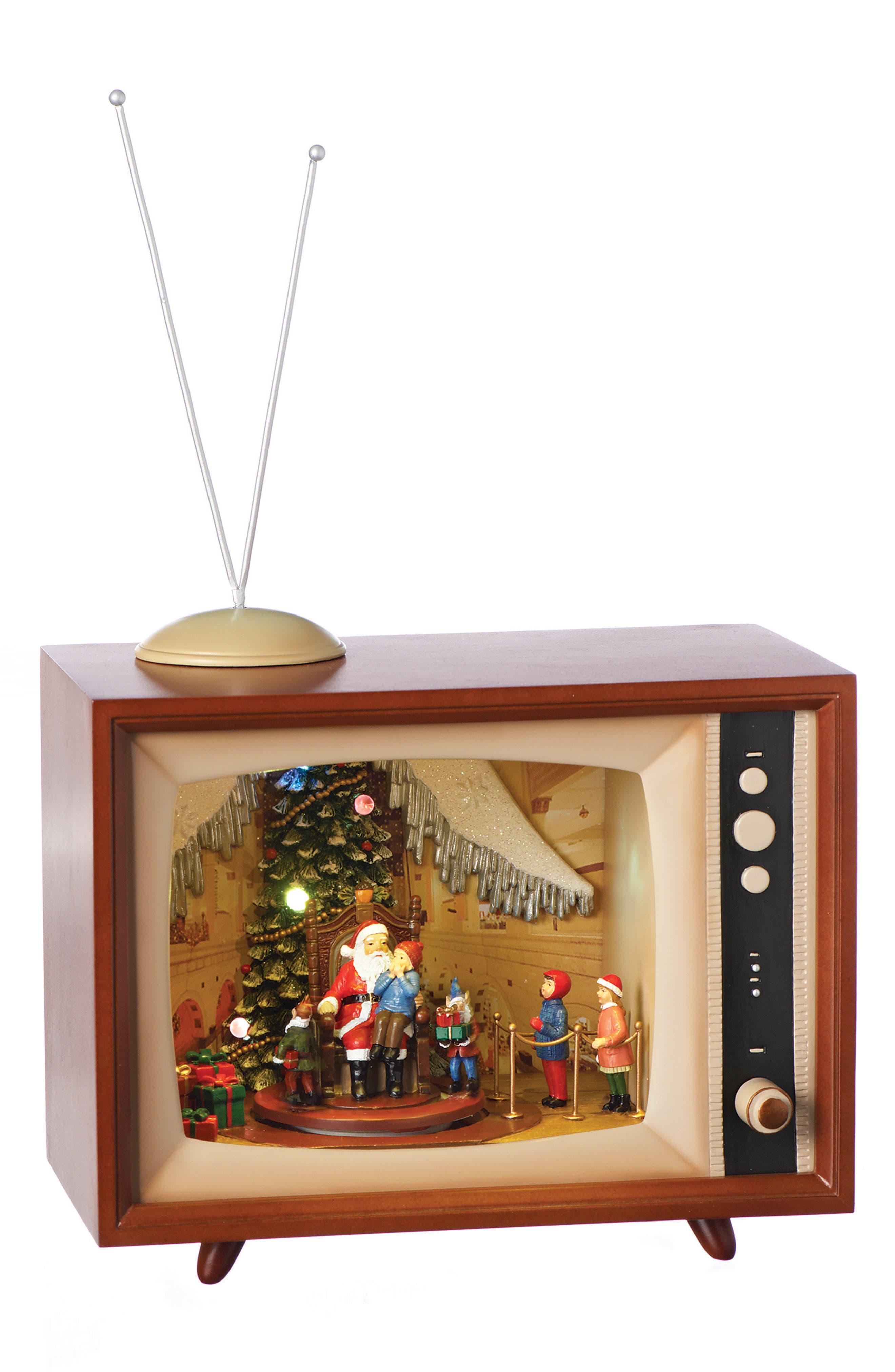 Santa Diorama Music Box,                         Main,                         color, Brown