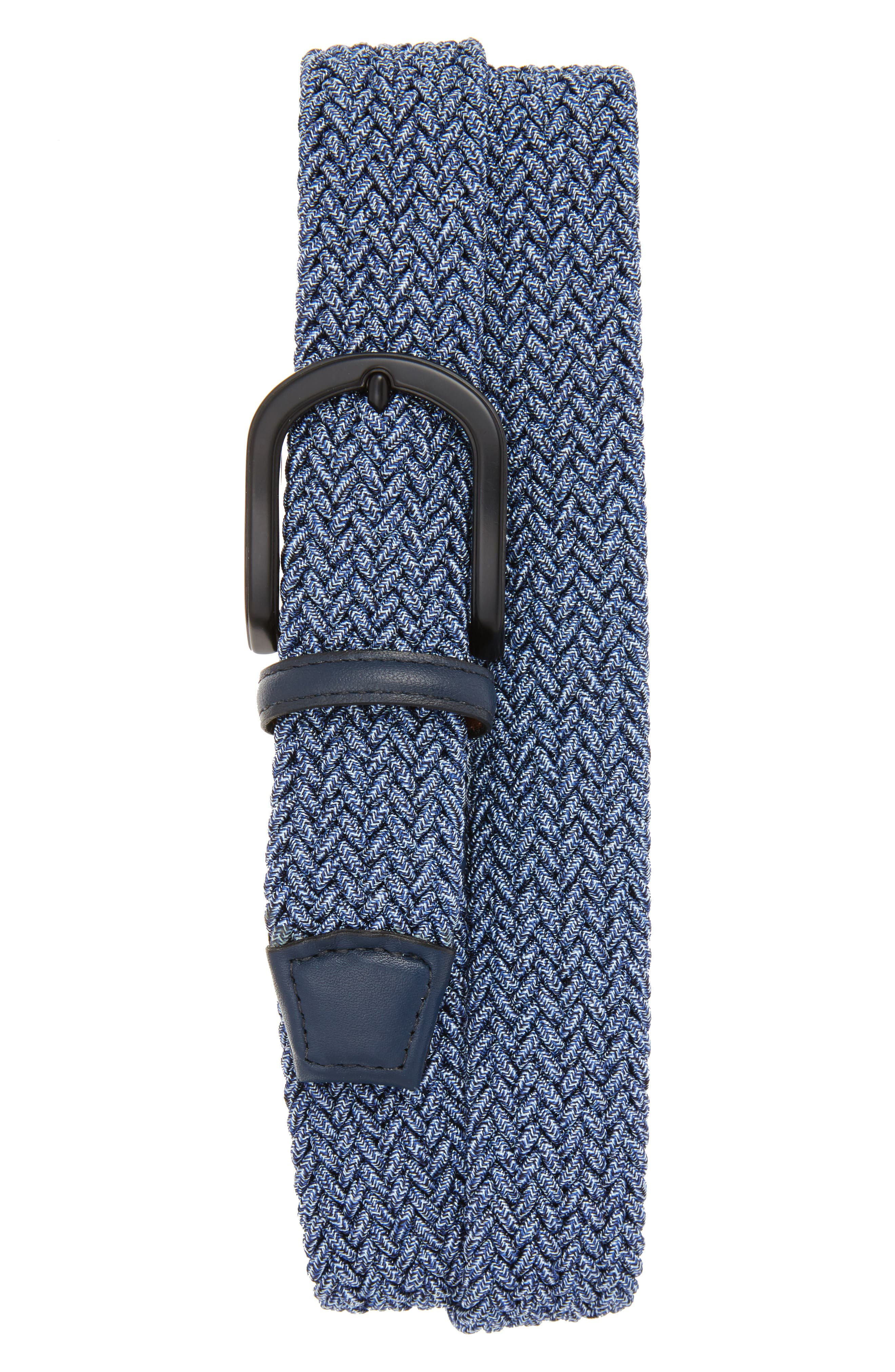 Braided Mélange Belts,                             Main thumbnail 1, color,                             Navy