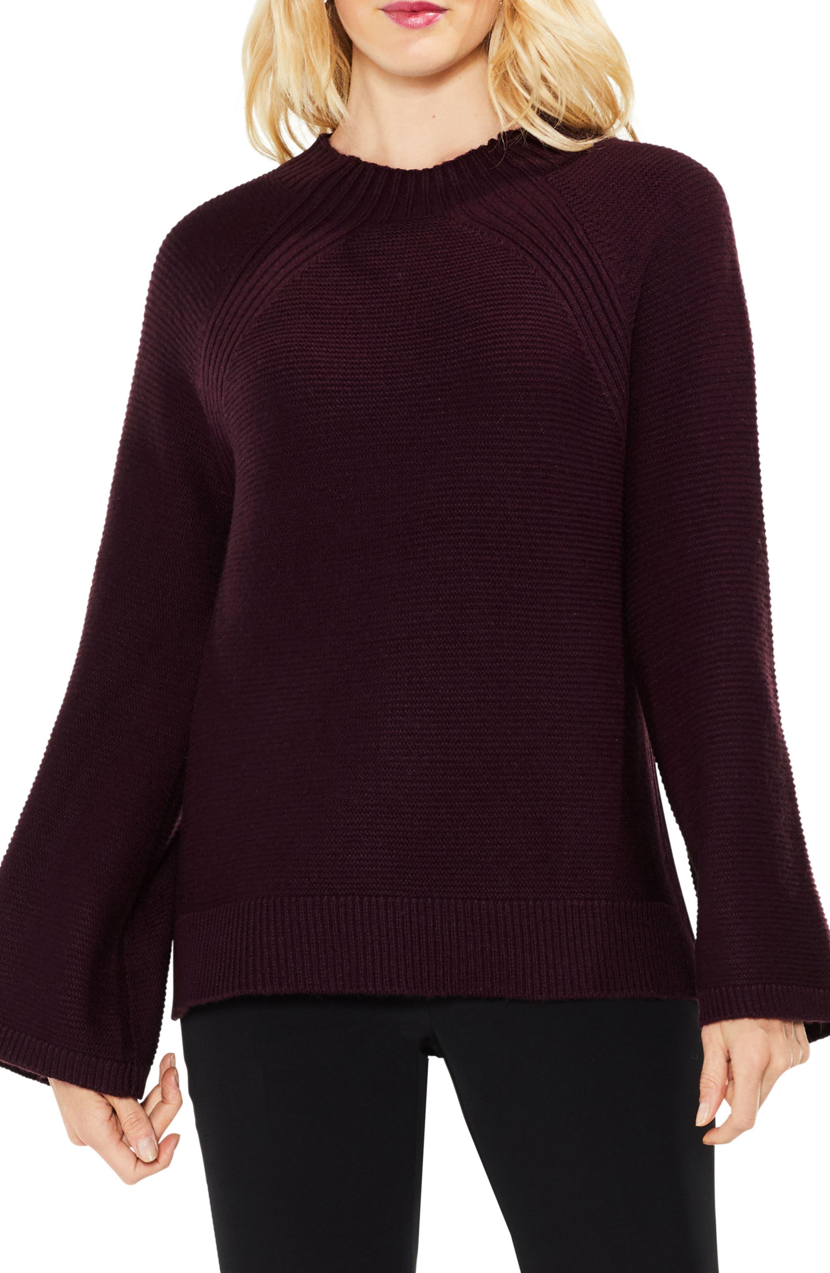 Bell Sleeve Sweater,                         Main,                         color, Cherry Noir