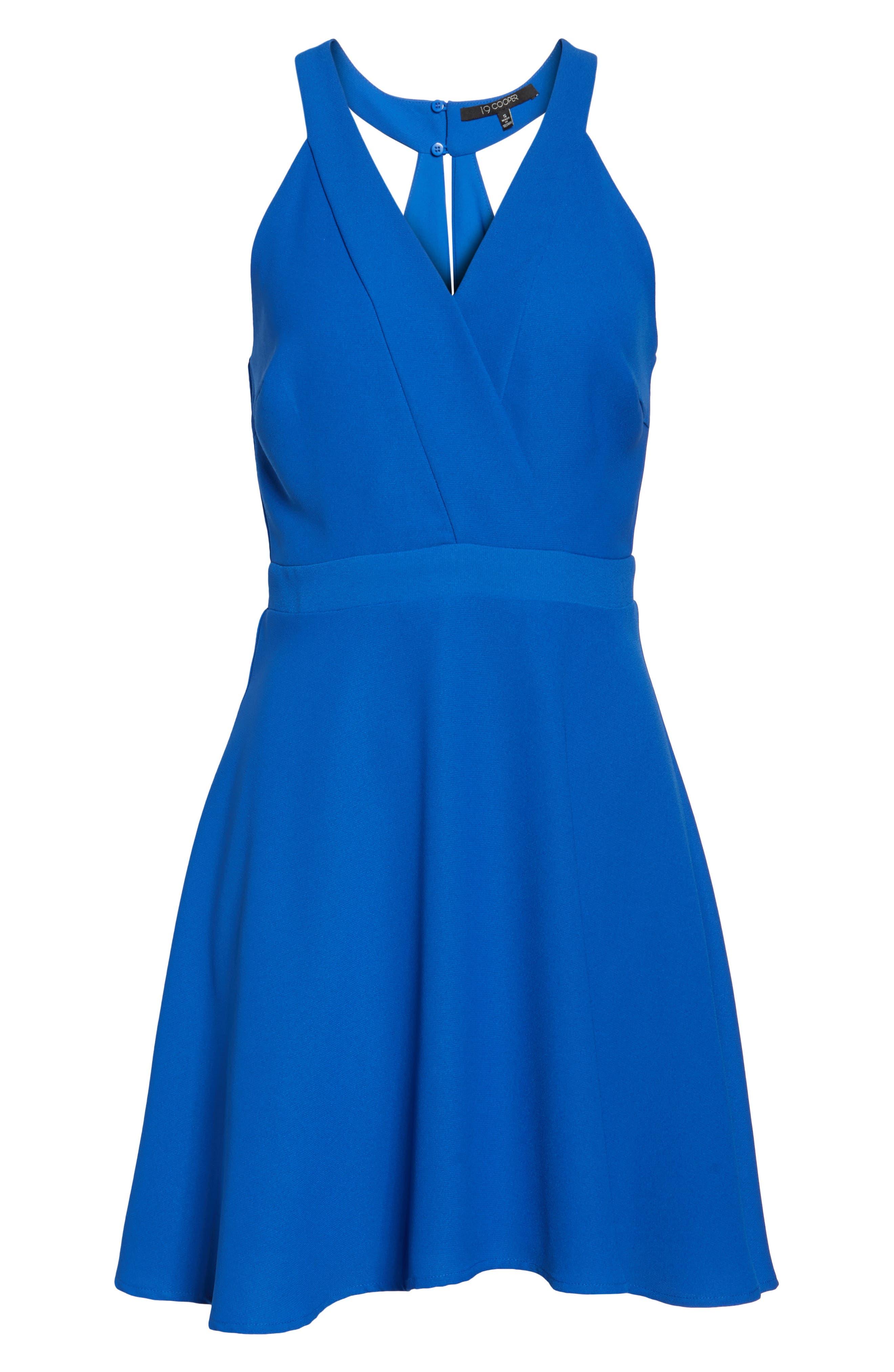Crepe Skater Dress,                             Alternate thumbnail 6, color,                             Cobalt