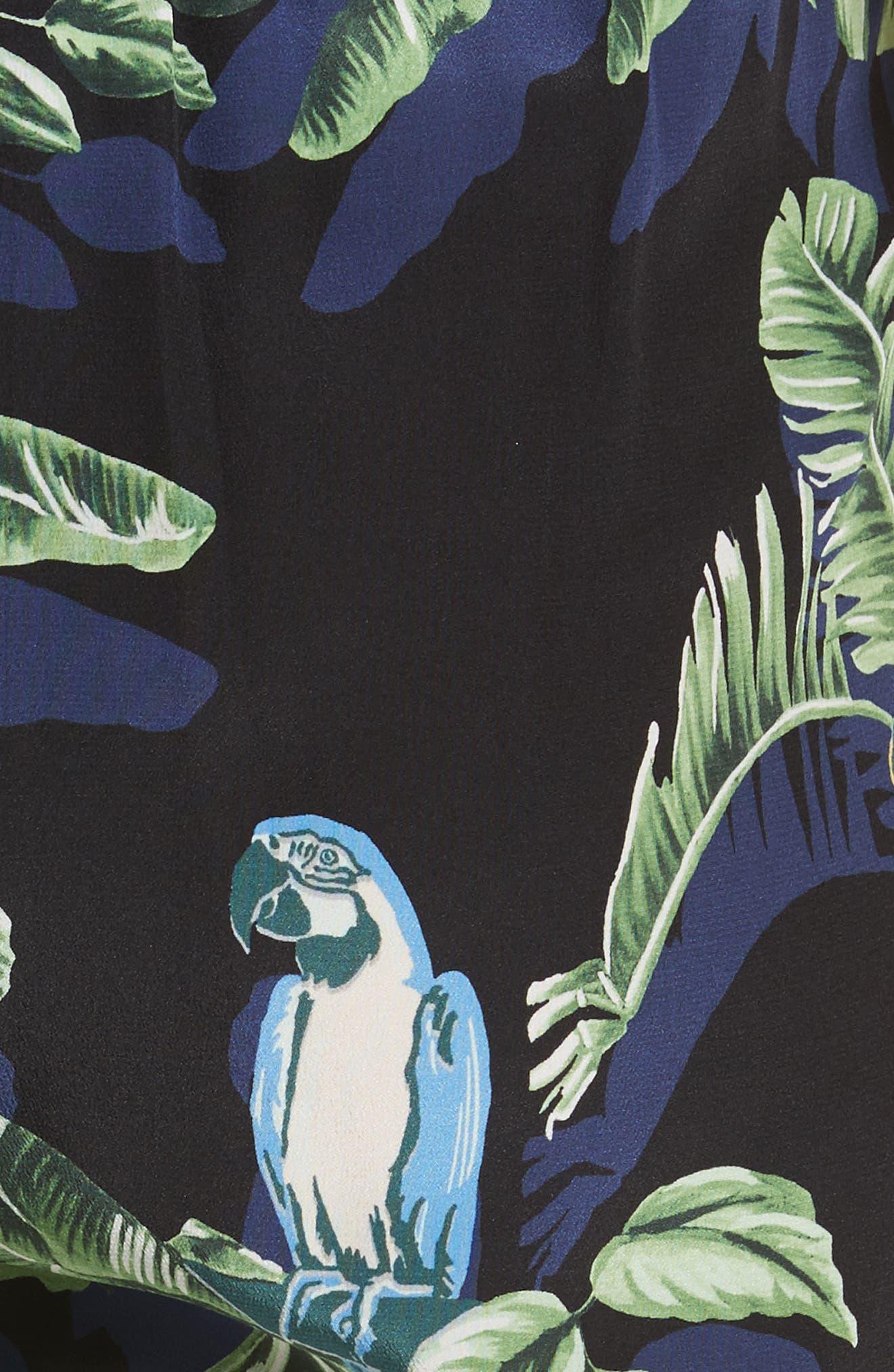 Birds of Paradise Silk Crêpe de Chine Pants,                             Alternate thumbnail 6, color,                             Black