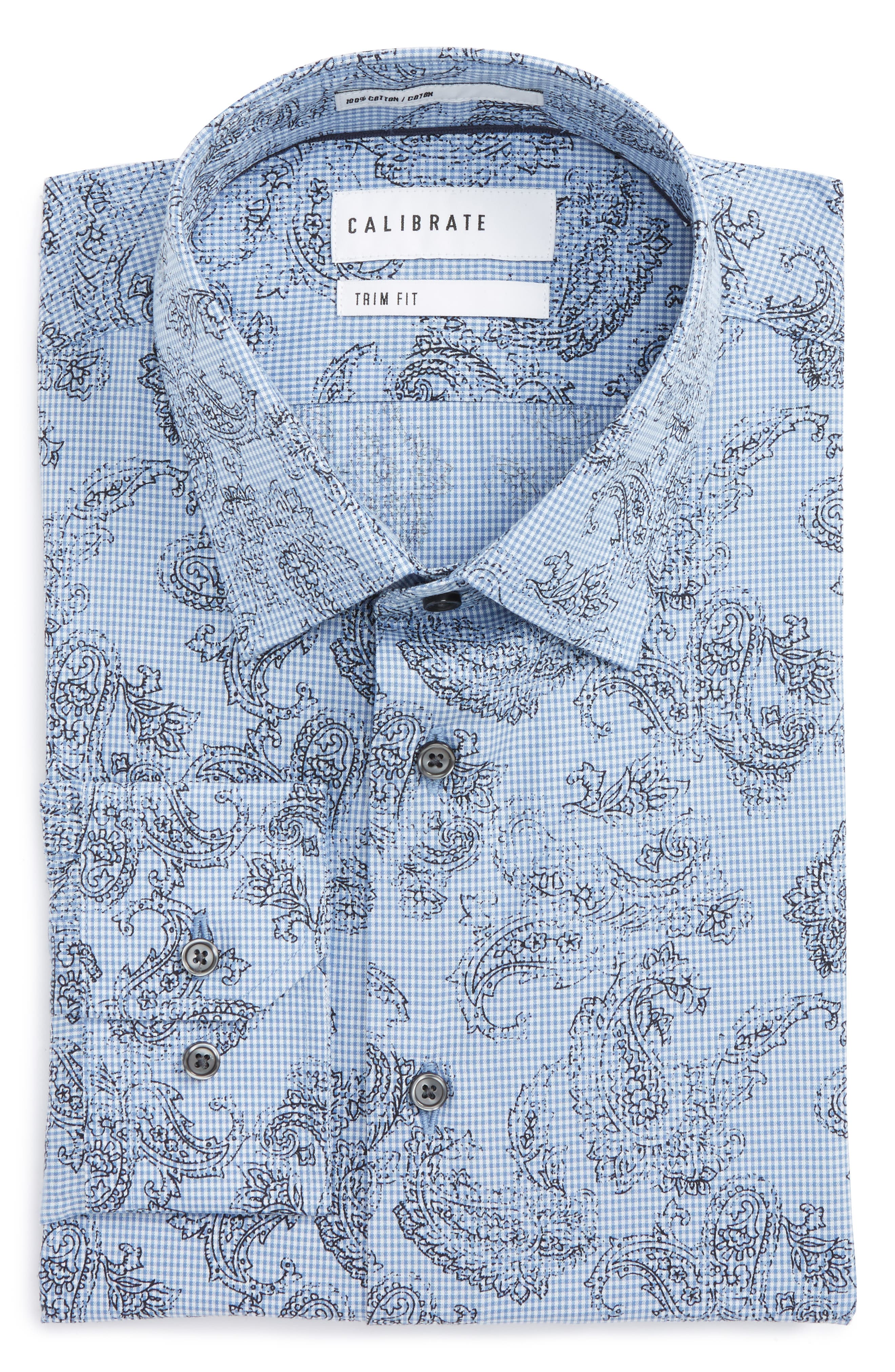 Calibrate Trim Fit Paisley Plaid Dress Shirt