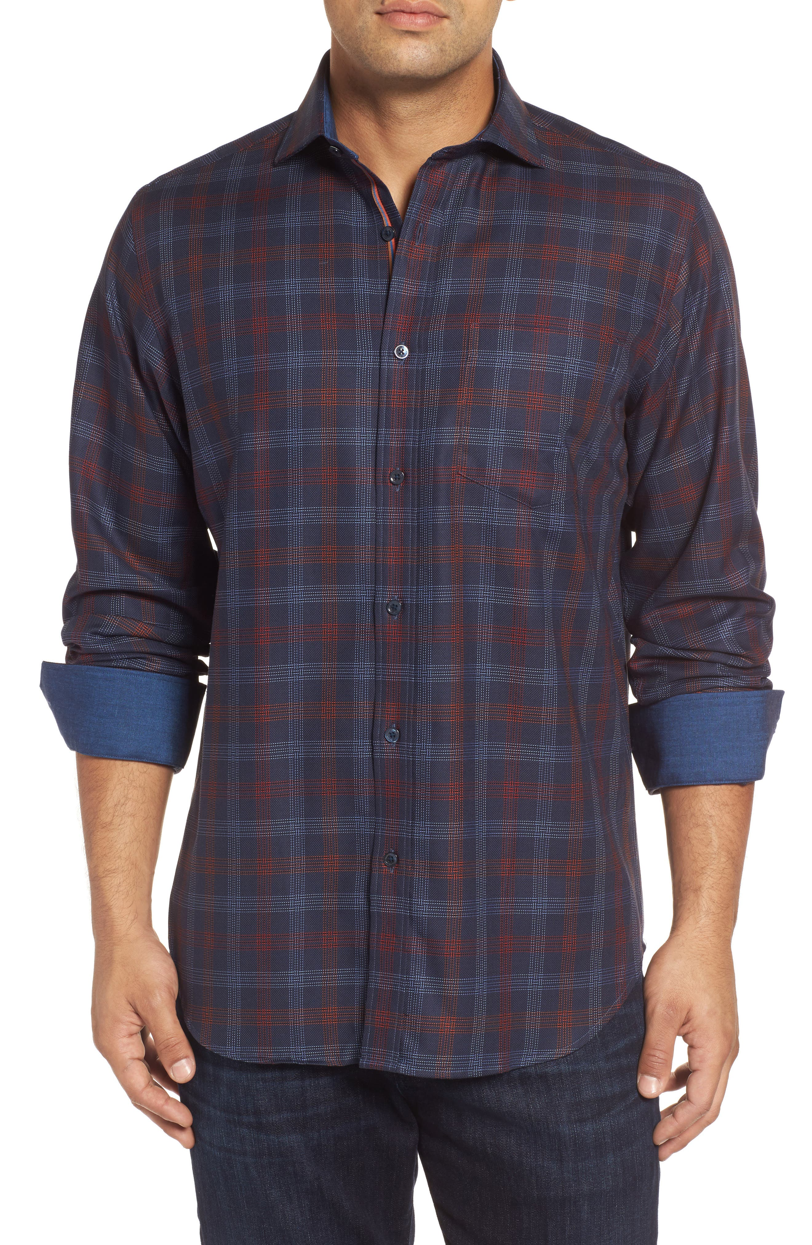 Classic Fit Pinstripe Check Sport Shirt,                         Main,                         color, Midnight