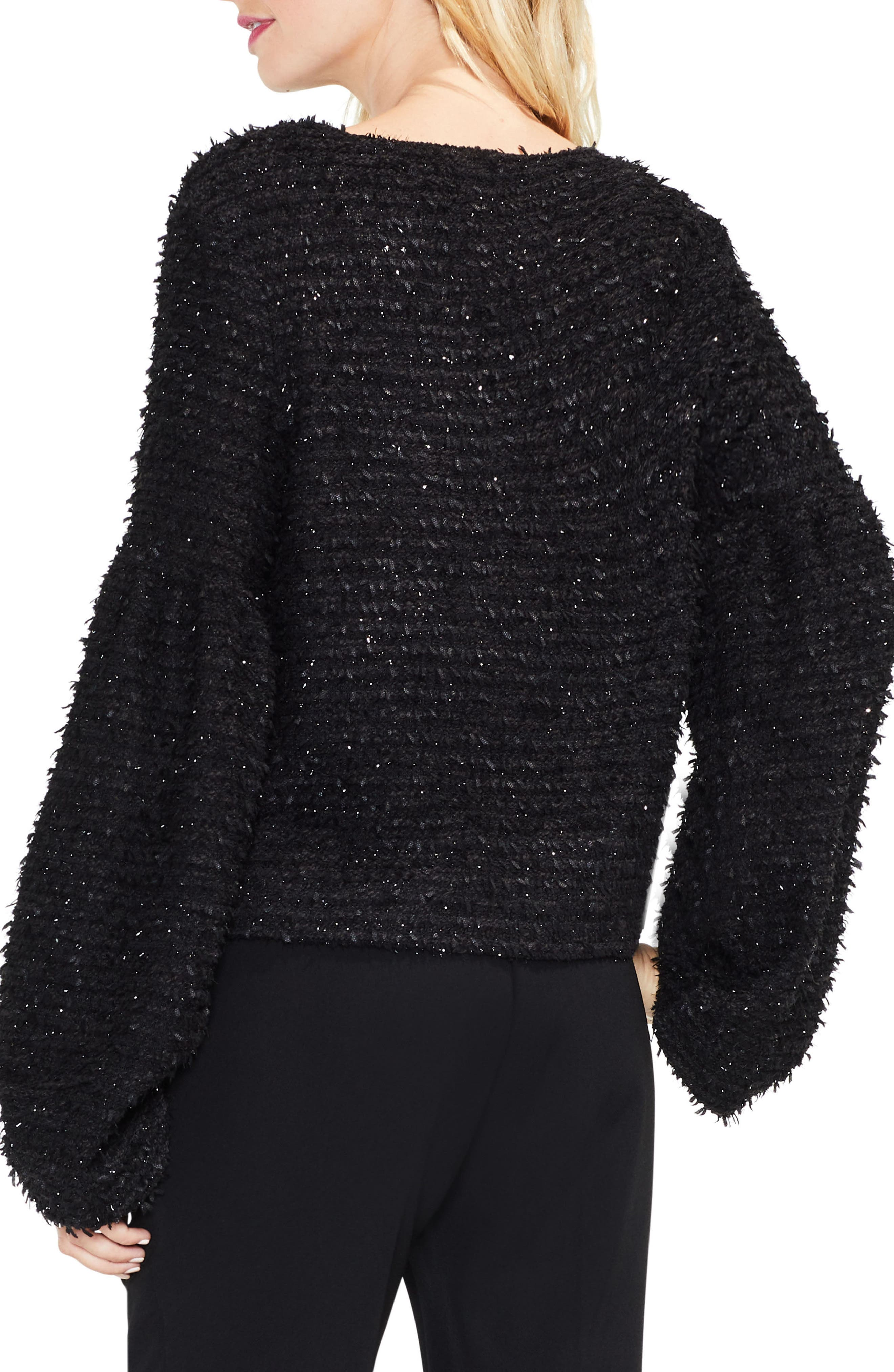 Bubble Sleeve Eyelash Knit Sweater,                             Alternate thumbnail 2, color,                             Rich Black