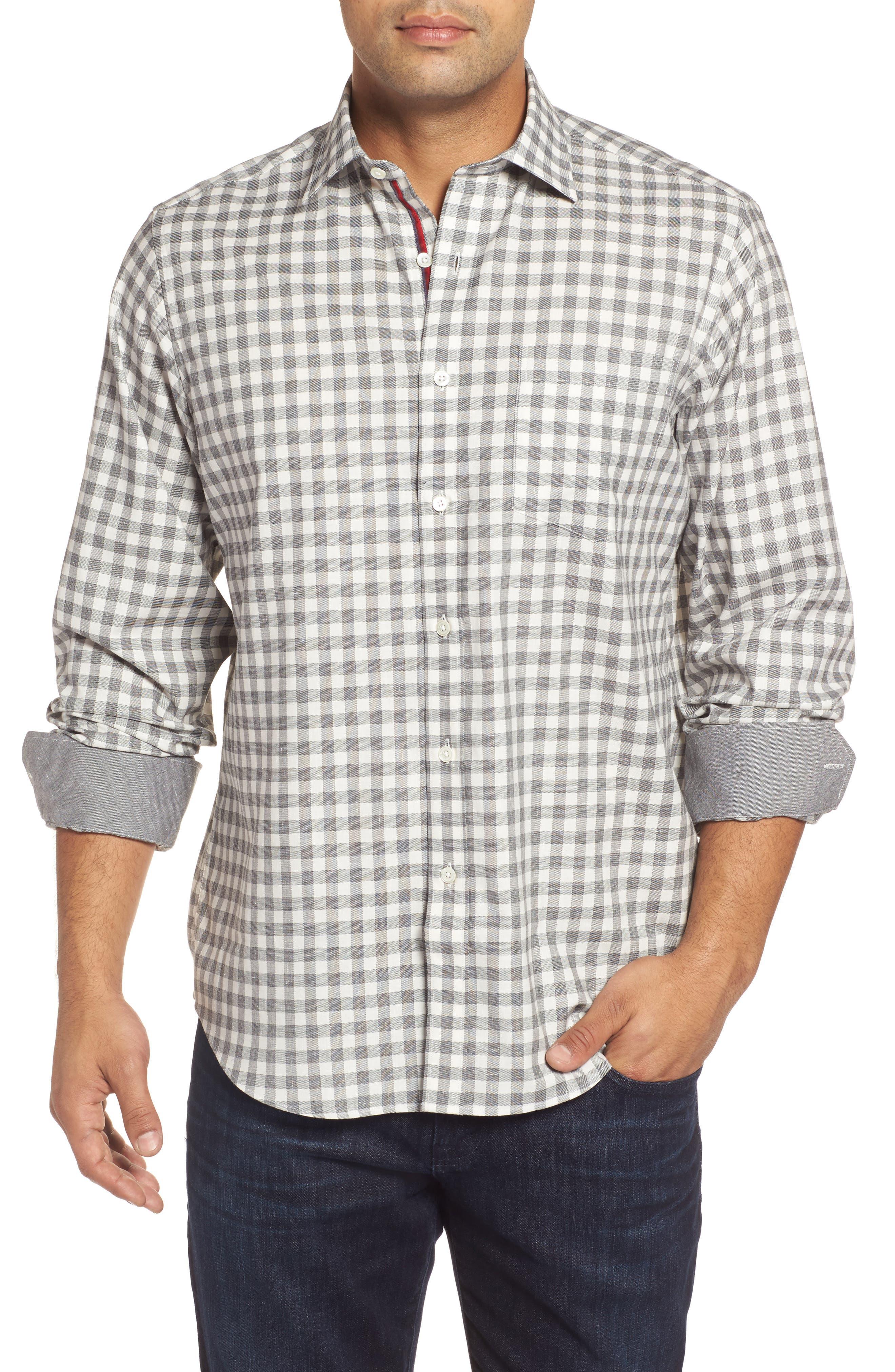 Classic Fit Slubbed Check Sport Shirt,                         Main,                         color, Platinum