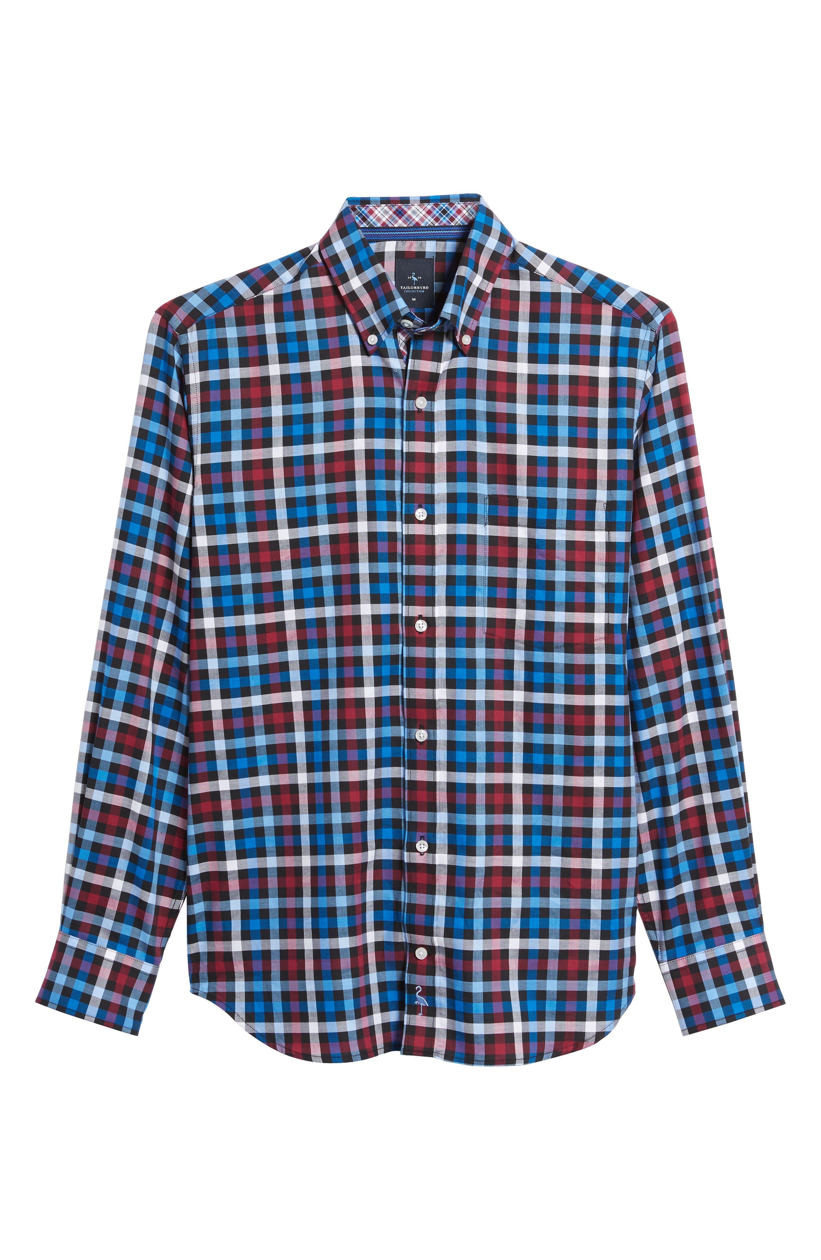 Brusly Regular Fit Gingham Sport Shirt,                             Alternate thumbnail 6, color,                             Black
