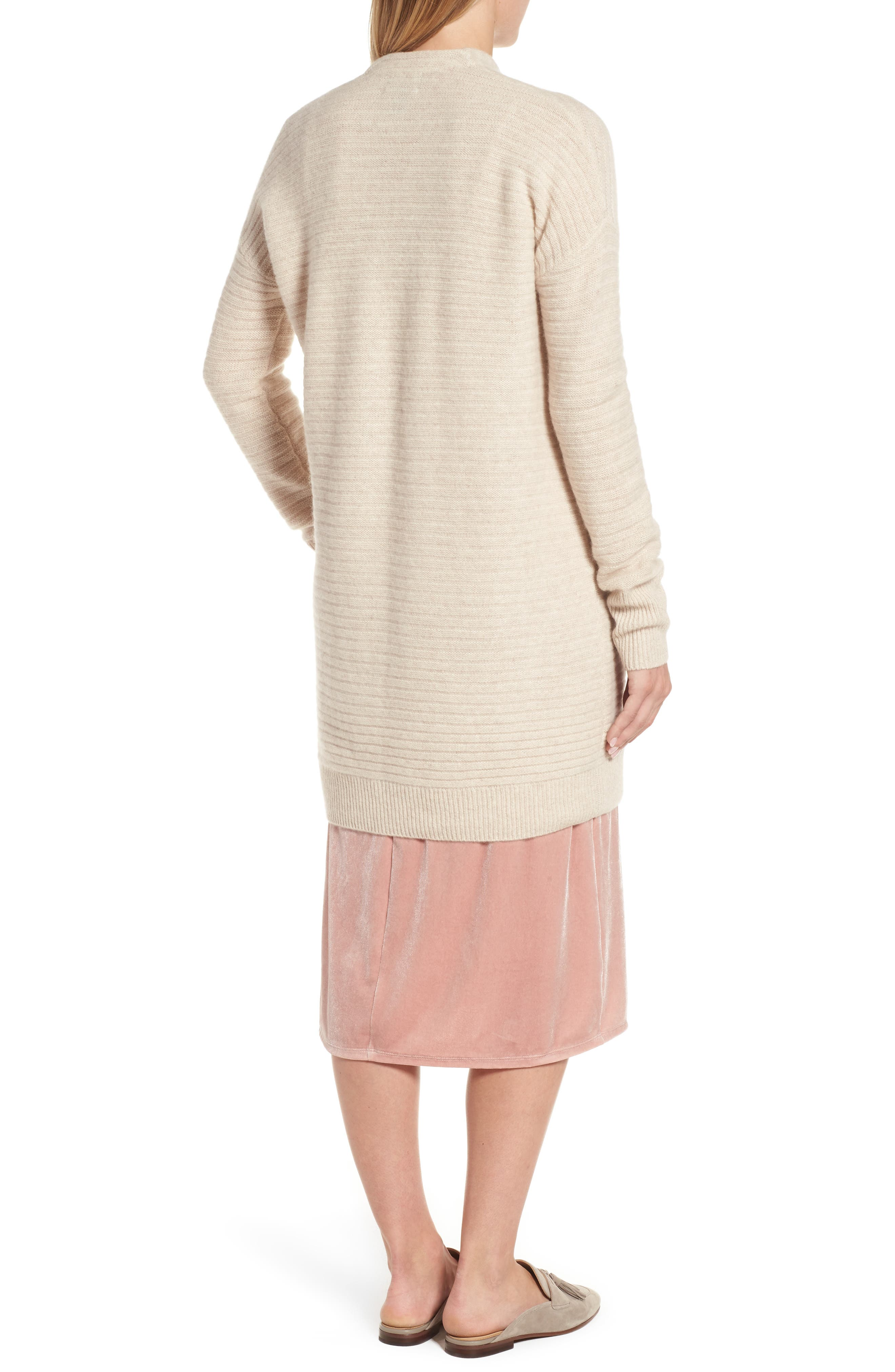 Ribbed Cashmere Cardigan,                             Alternate thumbnail 2, color,                             Heather Oatmeal