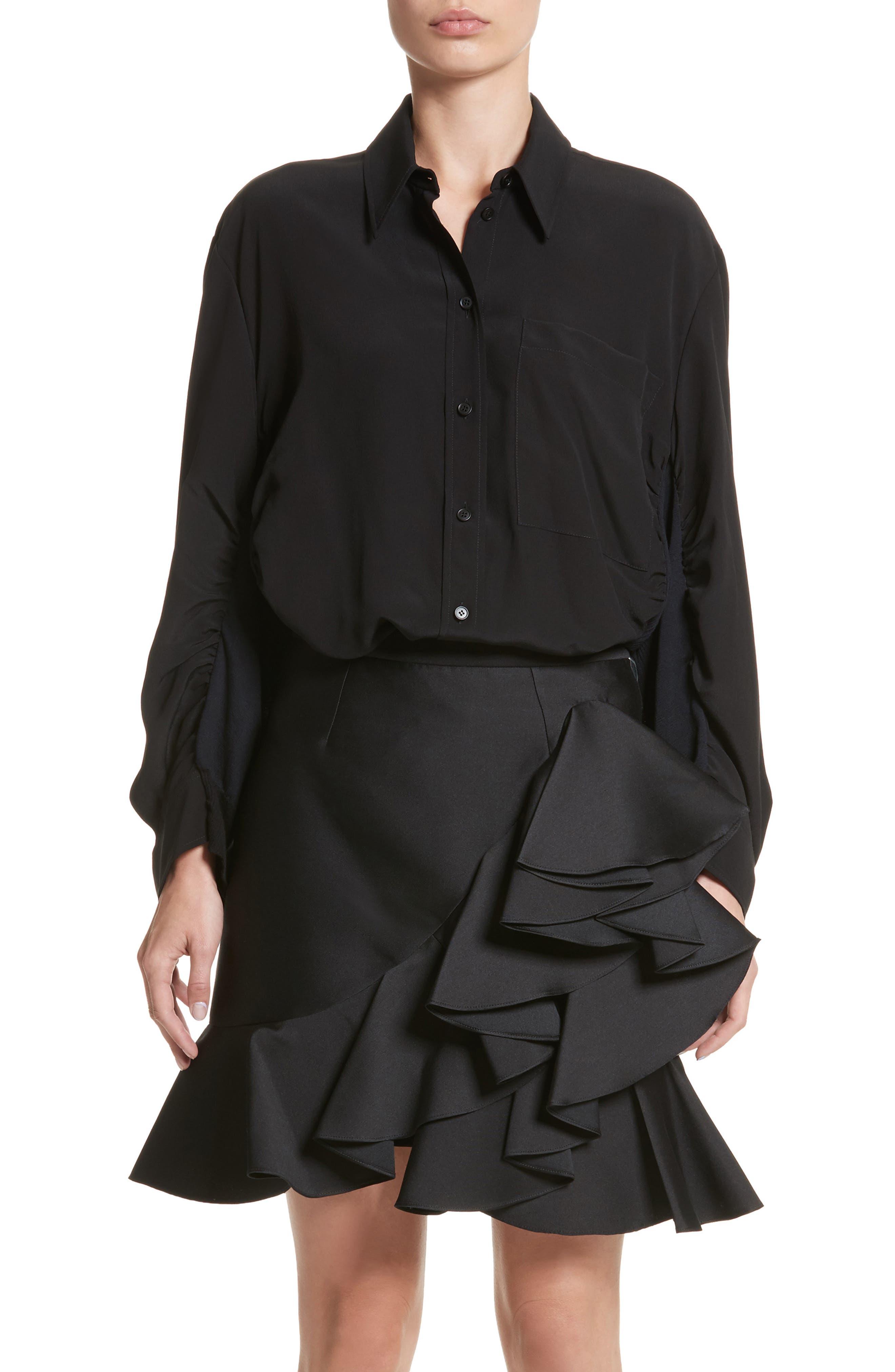 Cutaway Silk Blouse,                         Main,                         color, Black