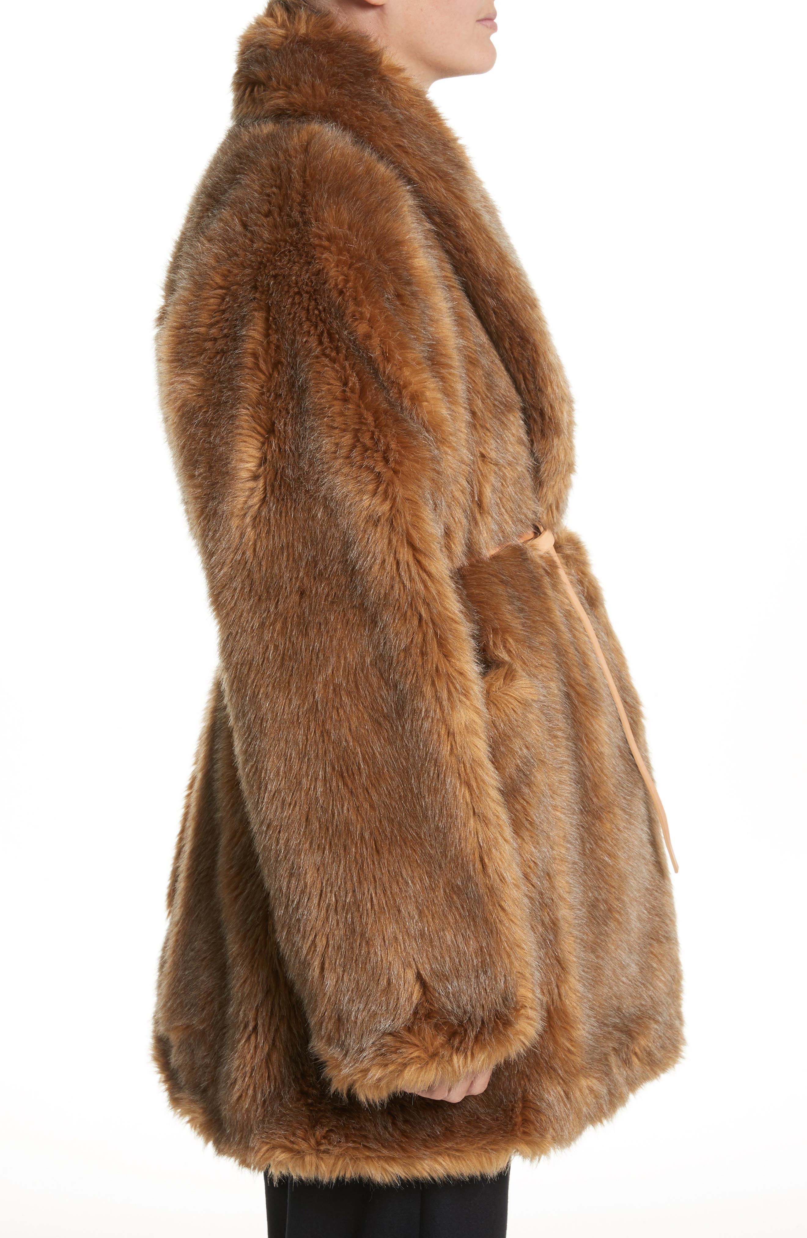 Alternate Image 3  - Isa Arfen Asymmetric Faux Fur Coat