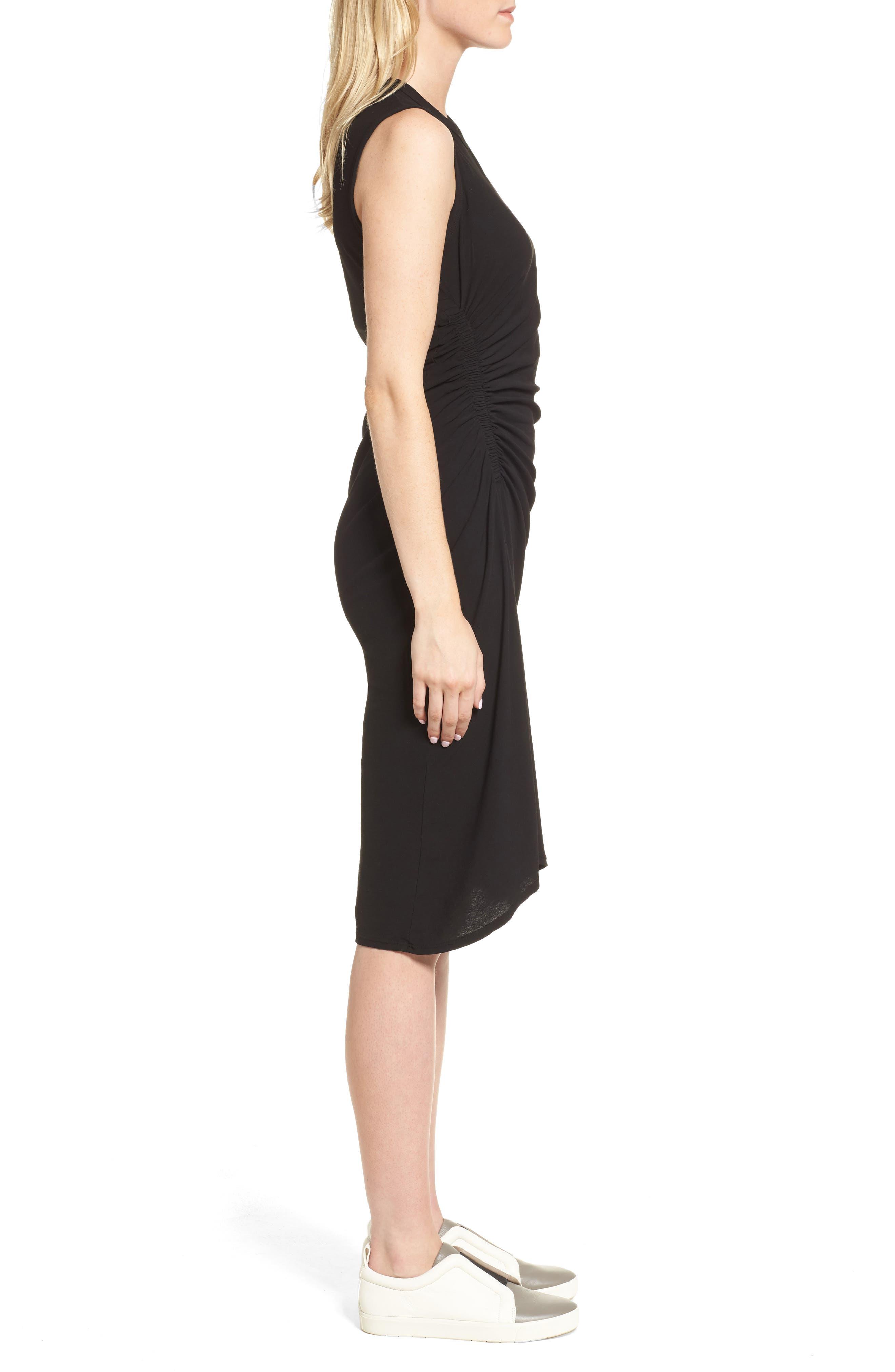 Spiral Shirred Sheath Dress,                             Alternate thumbnail 3, color,                             Black