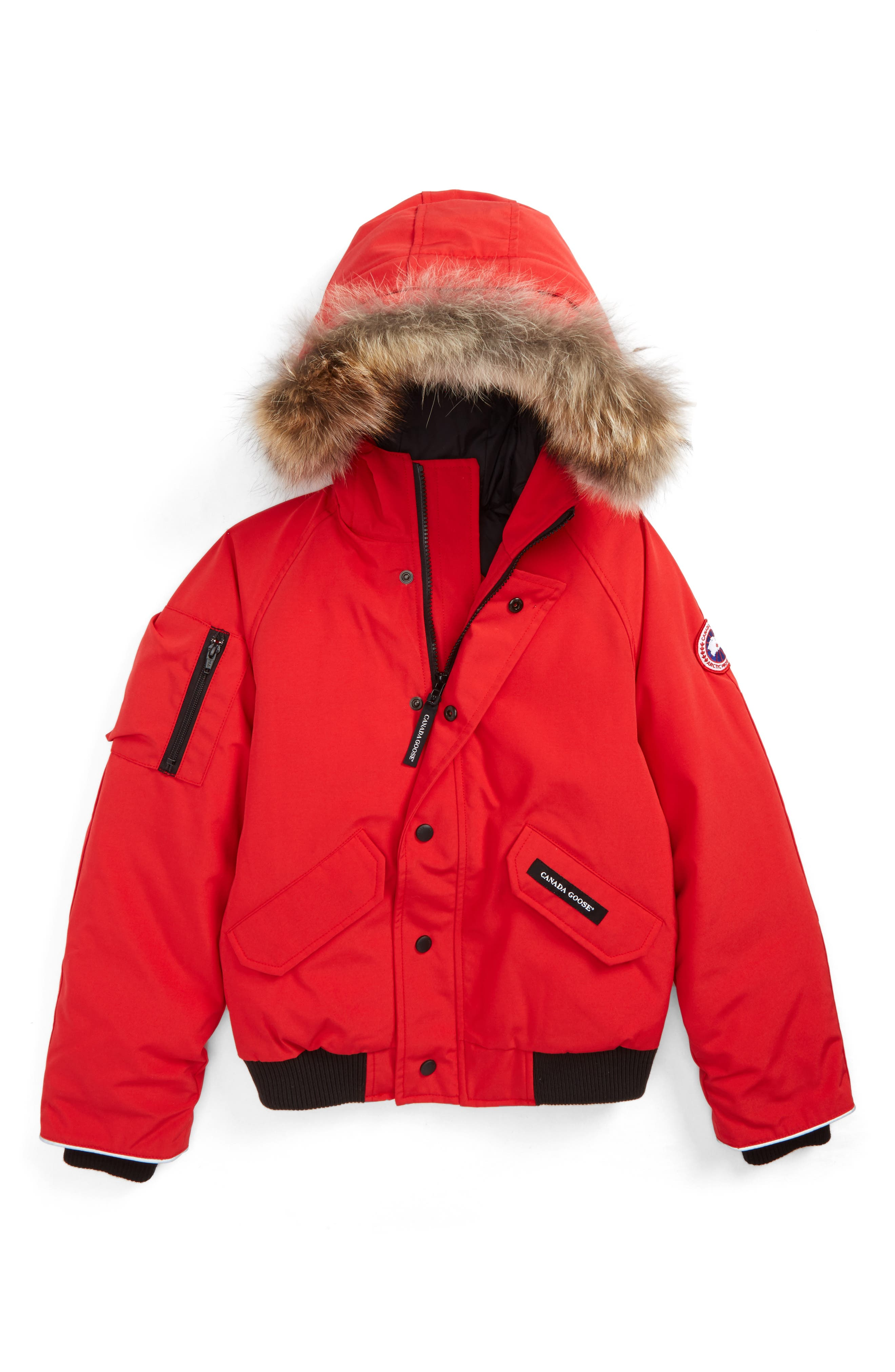 'Rundle' Down Bomber Jacket with Genuine Coyote Fur Trim,                             Main thumbnail 1, color,                             Red
