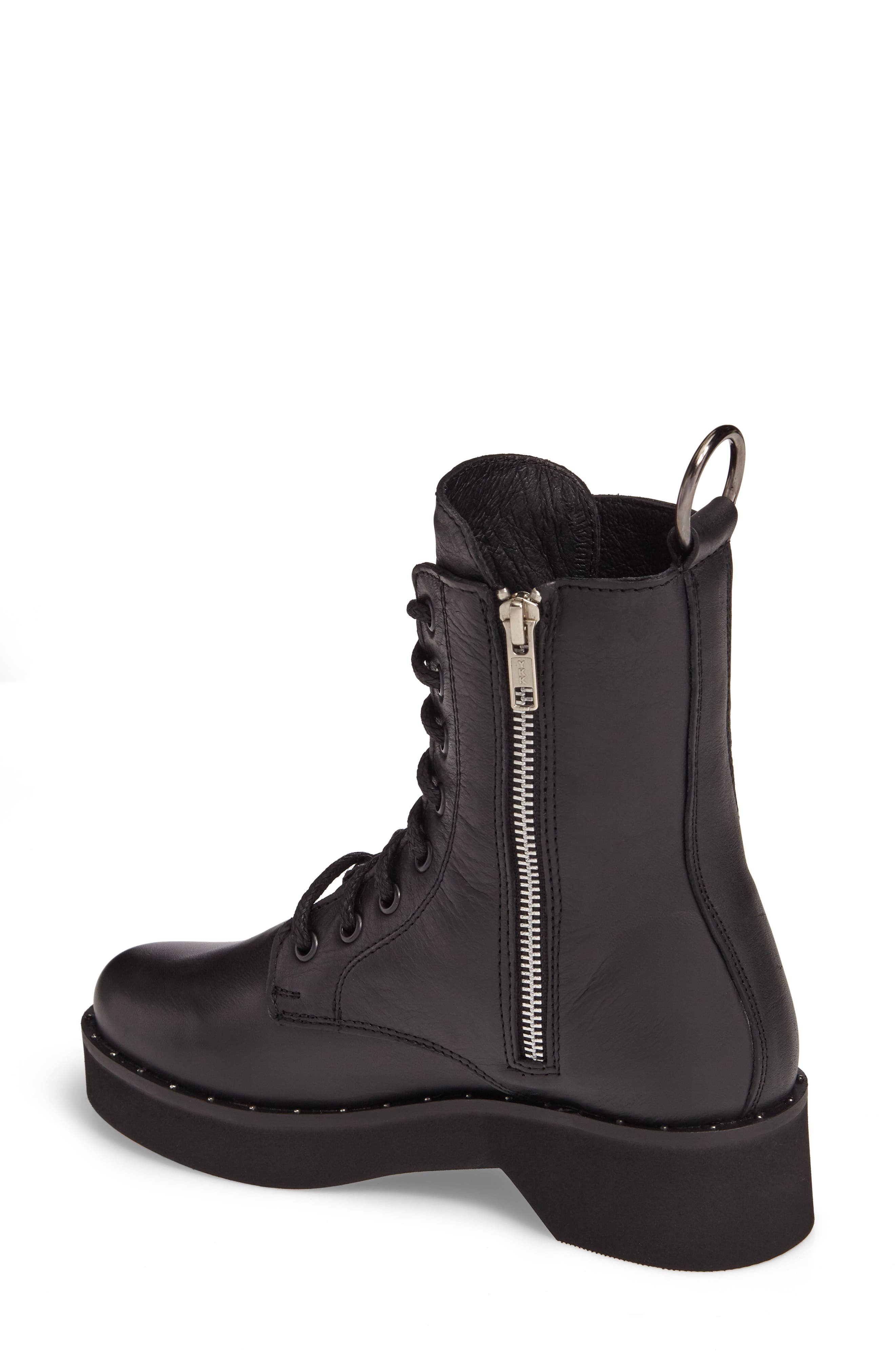 Rocco Combat Boot,                             Alternate thumbnail 2, color,                             Black Leather