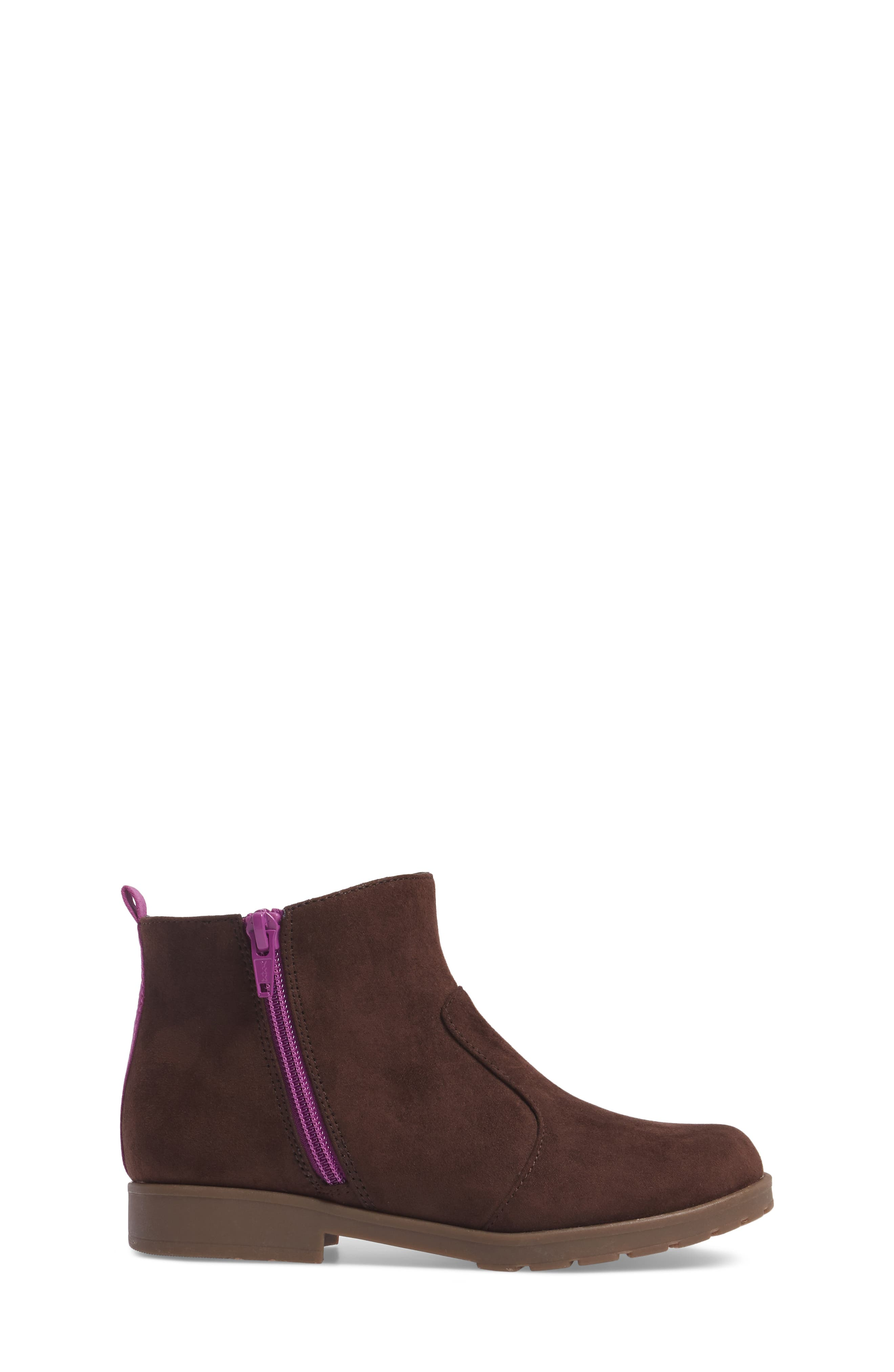 Lucy Zip Bootie,                             Alternate thumbnail 3, color,                             Chocolate