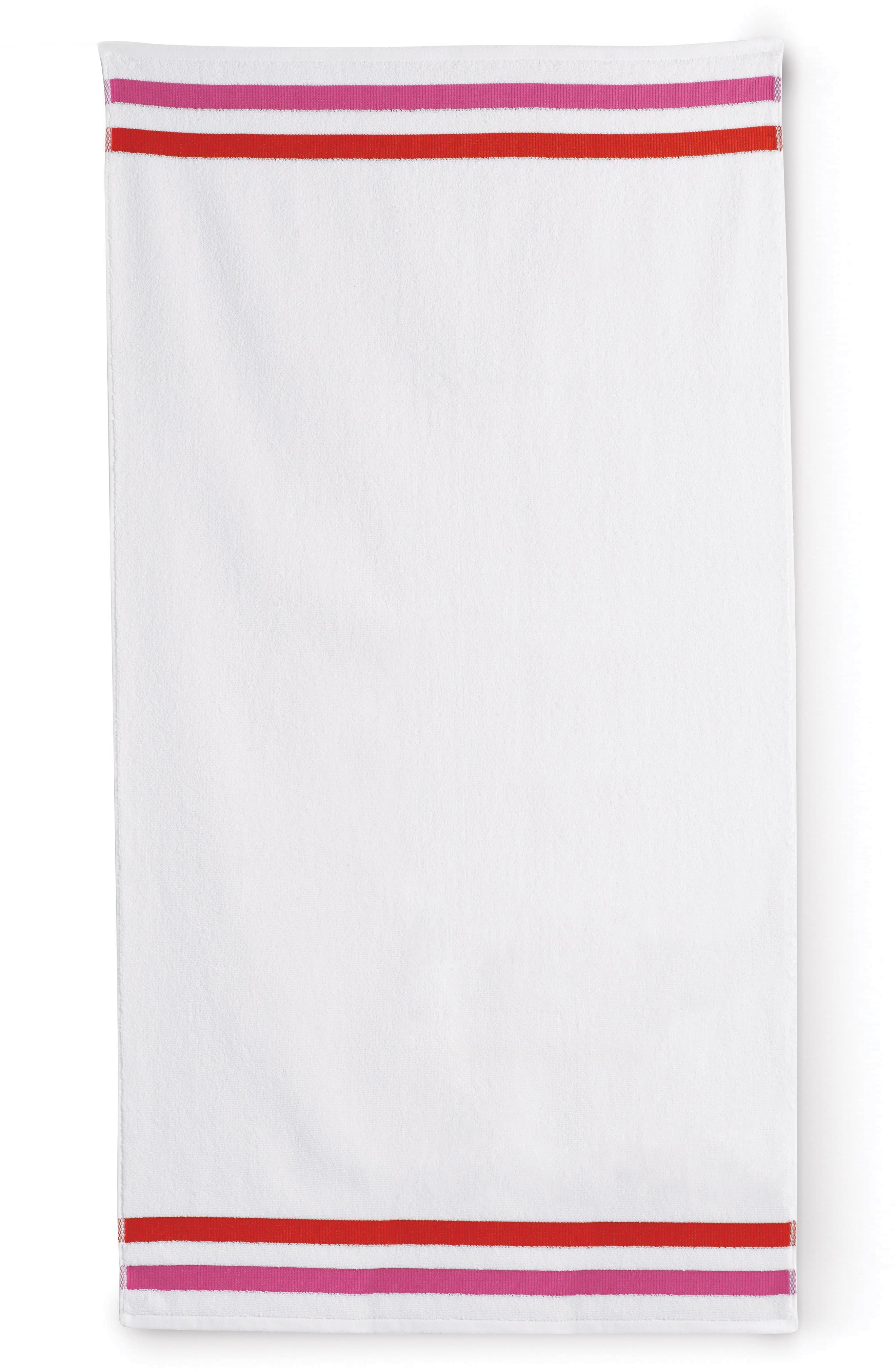 grosgrain stripe bath towel,                         Main,                         color, White