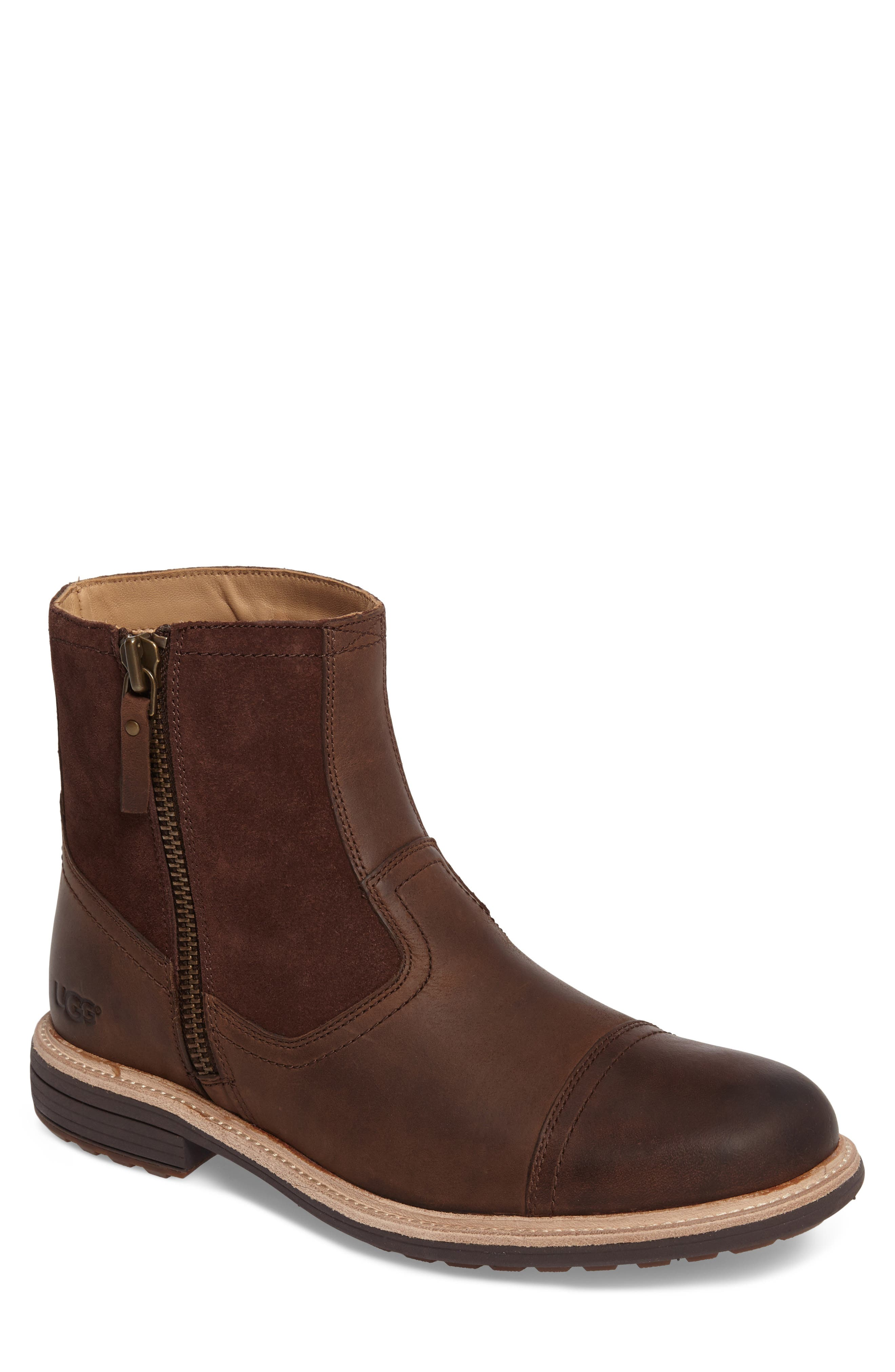 Dalvin Zip Boot with Genuine Shearling,                             Main thumbnail 1, color,                             Grizzly