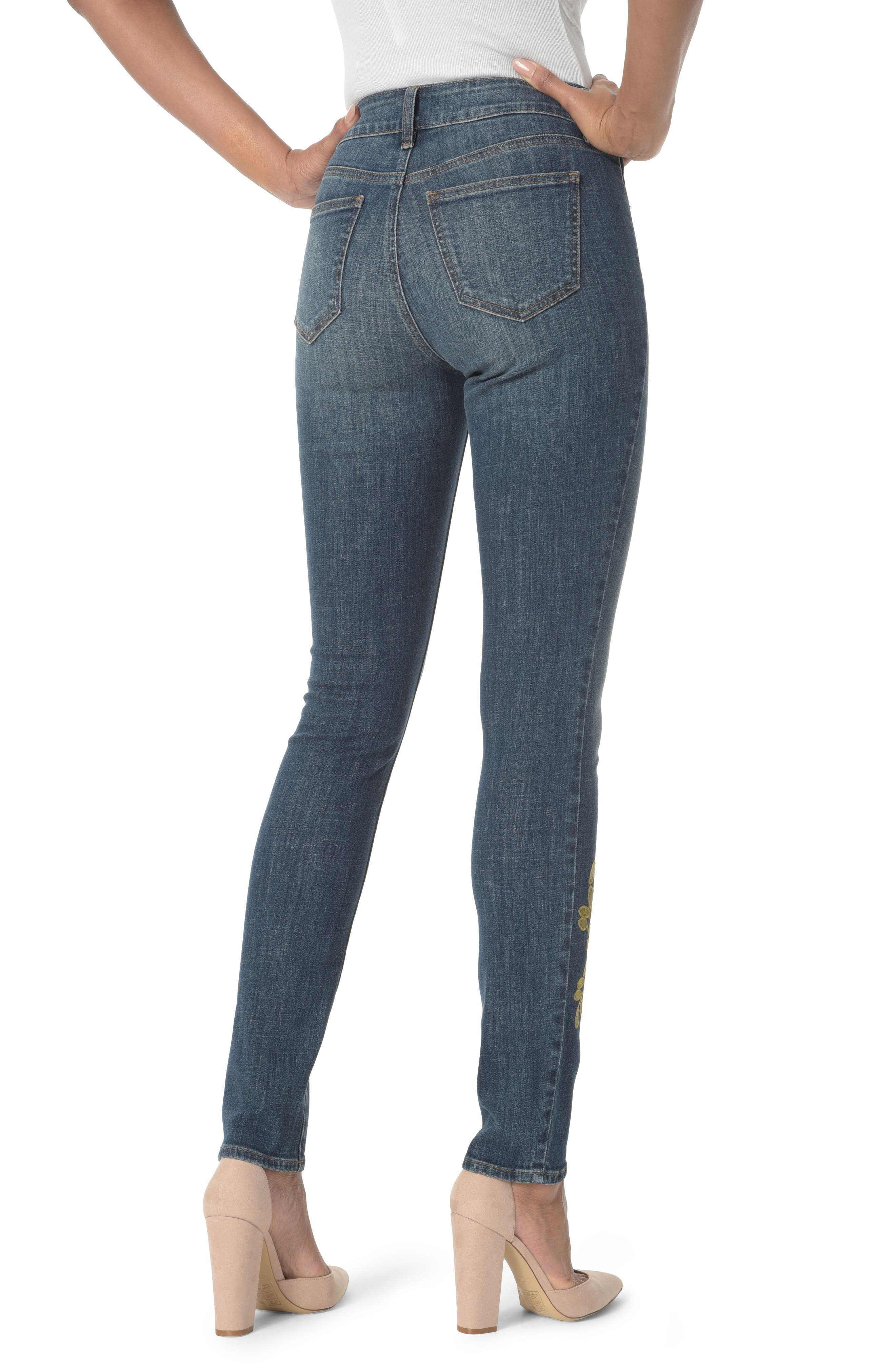 Alina Stretch Skinny Jeans,                             Alternate thumbnail 2, color,                             Desert Gold