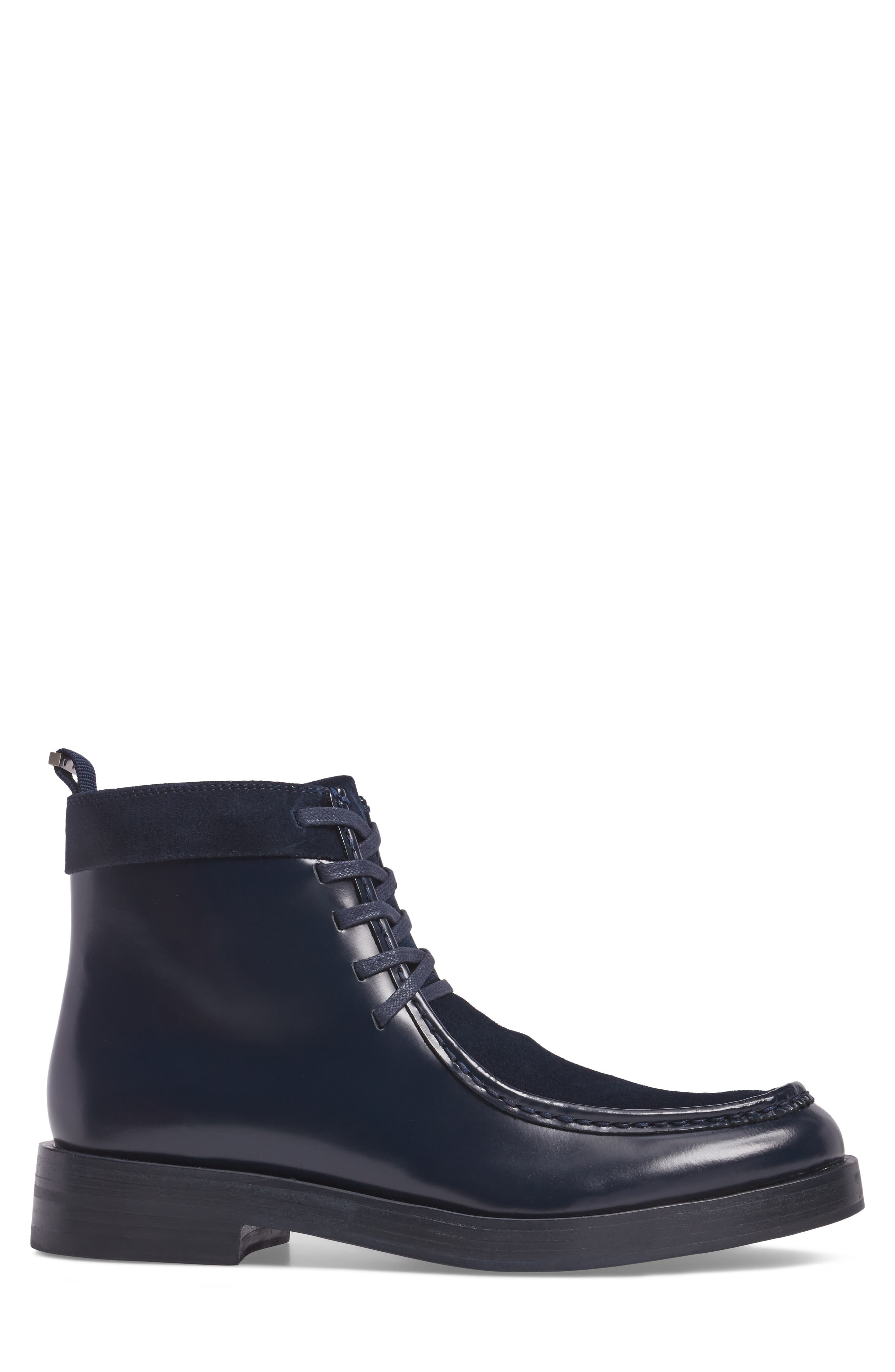 Rafi Moc Toe Boot,                             Alternate thumbnail 3, color,                             Dark Navy Leather