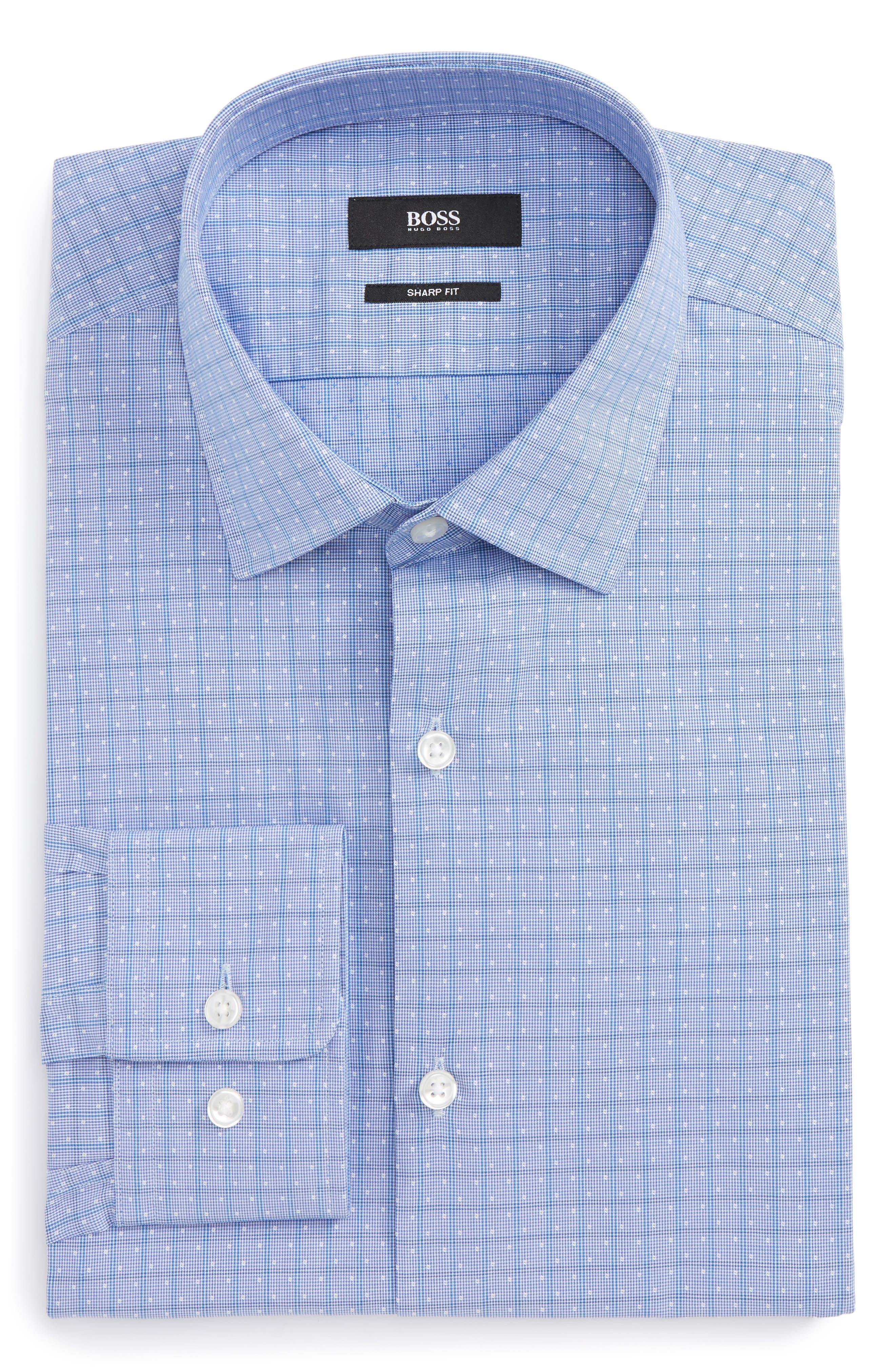 Marley Sharp Fit Check Dress Shirt,                         Main,                         color, Blue
