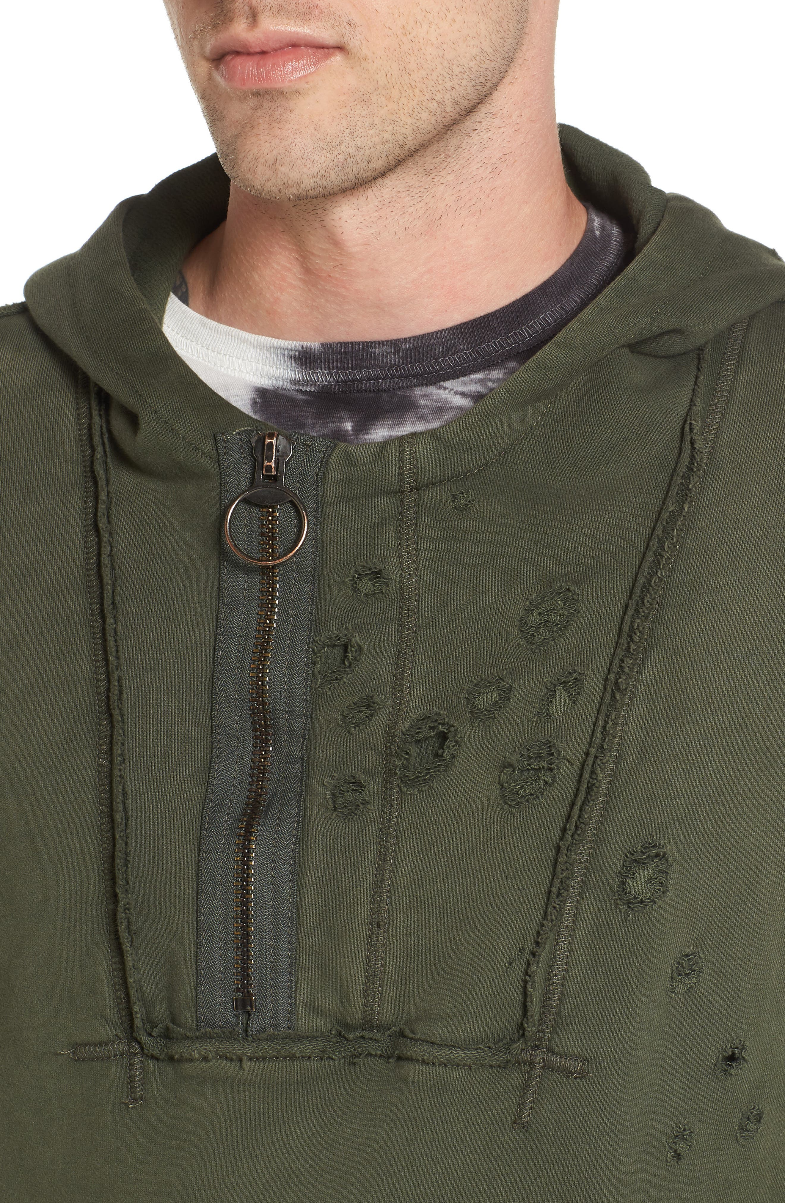 Distressed Pullover Hoodie,                             Alternate thumbnail 4, color,                             Militant Green