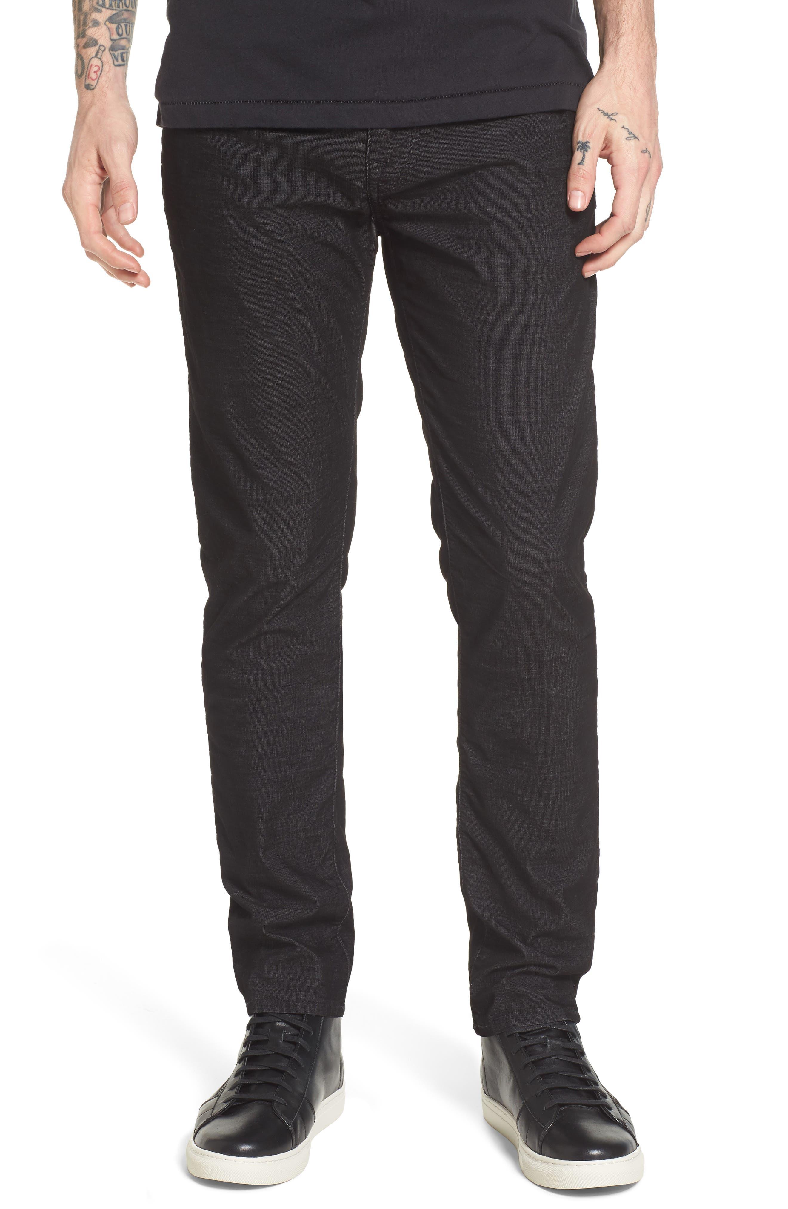 Rocco Skinny Fit Corduroy Jeans,                             Main thumbnail 1, color,                             Black