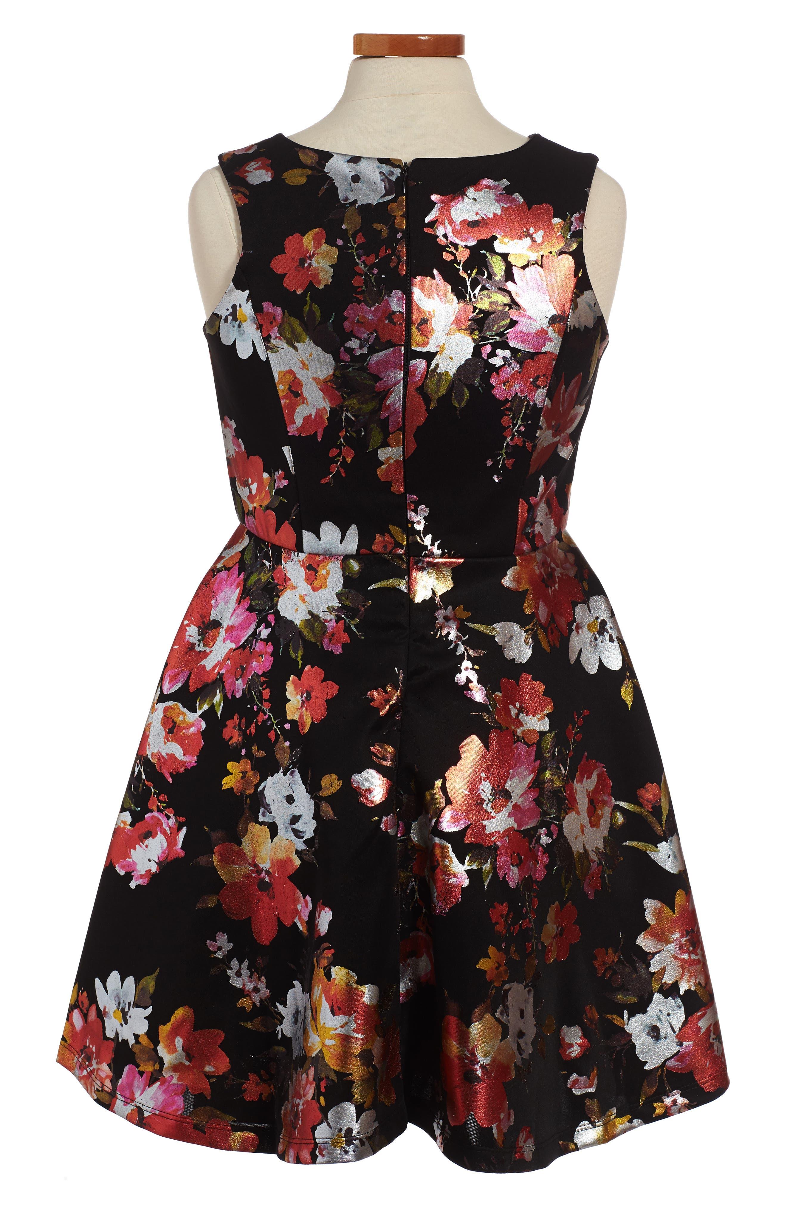 Metallic Floral Fit & Flare Dress,                             Alternate thumbnail 3, color,                             Black