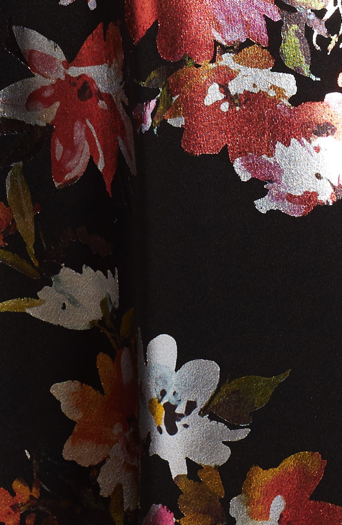 Metallic Floral Fit & Flare Dress,                             Alternate thumbnail 4, color,                             Black