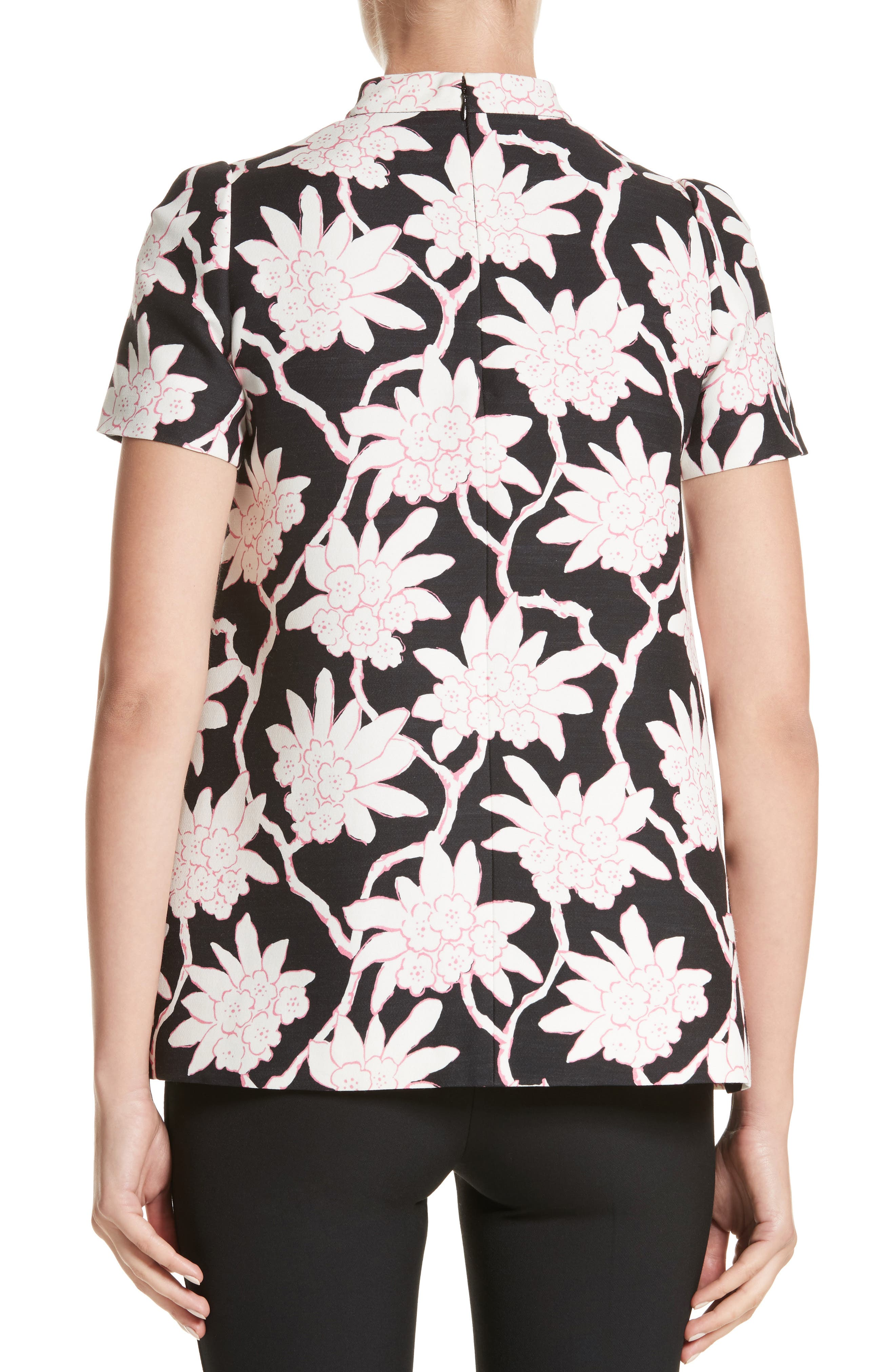 Rhododendron Print Wool & Silk Top,                             Alternate thumbnail 2, color,                             Black
