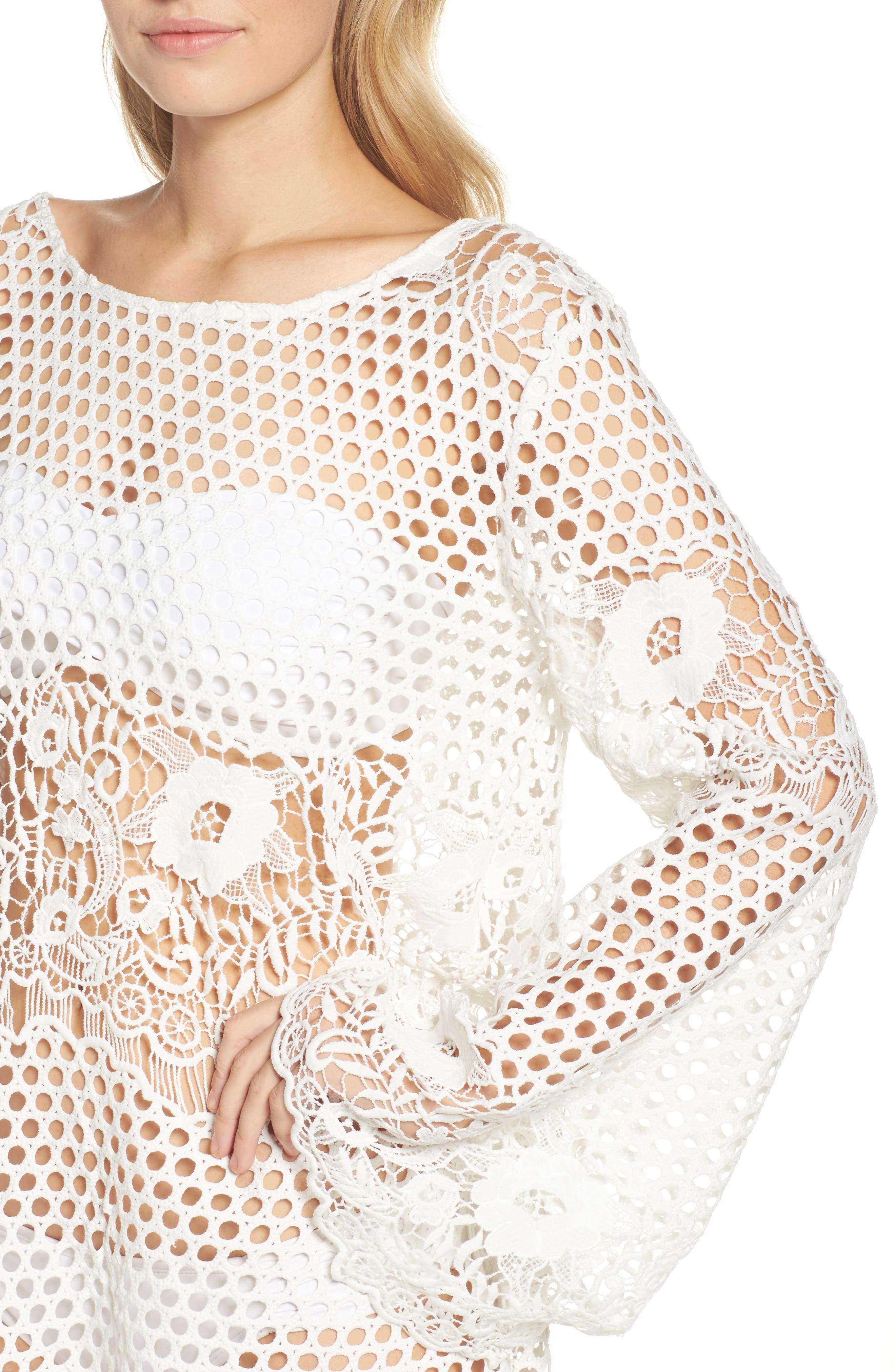 Crochet Cover-Up,                             Alternate thumbnail 4, color,                             White