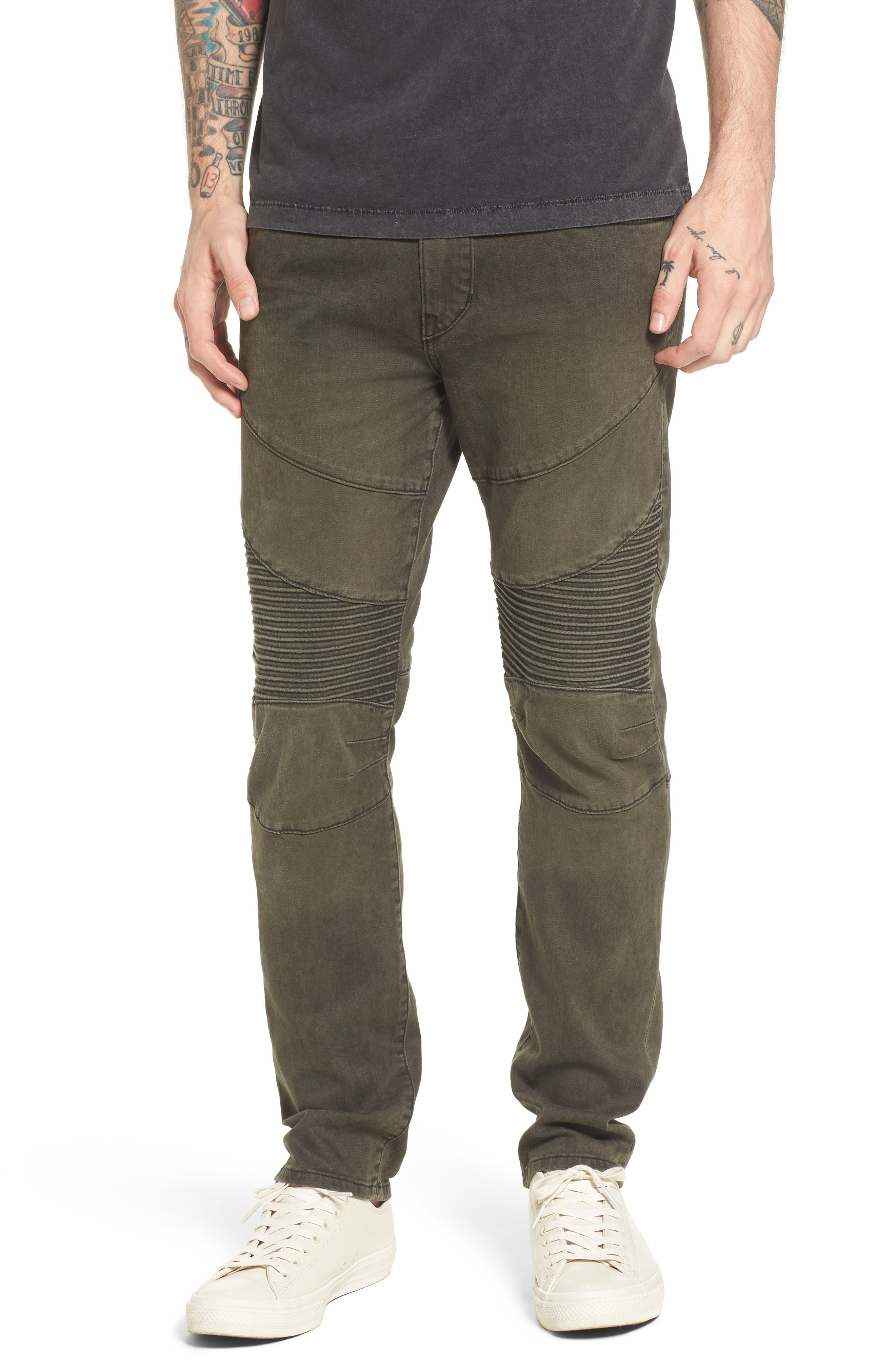 True Religion Brand Jeans Rocco Skinny Fit Jeans (Olive Coated)