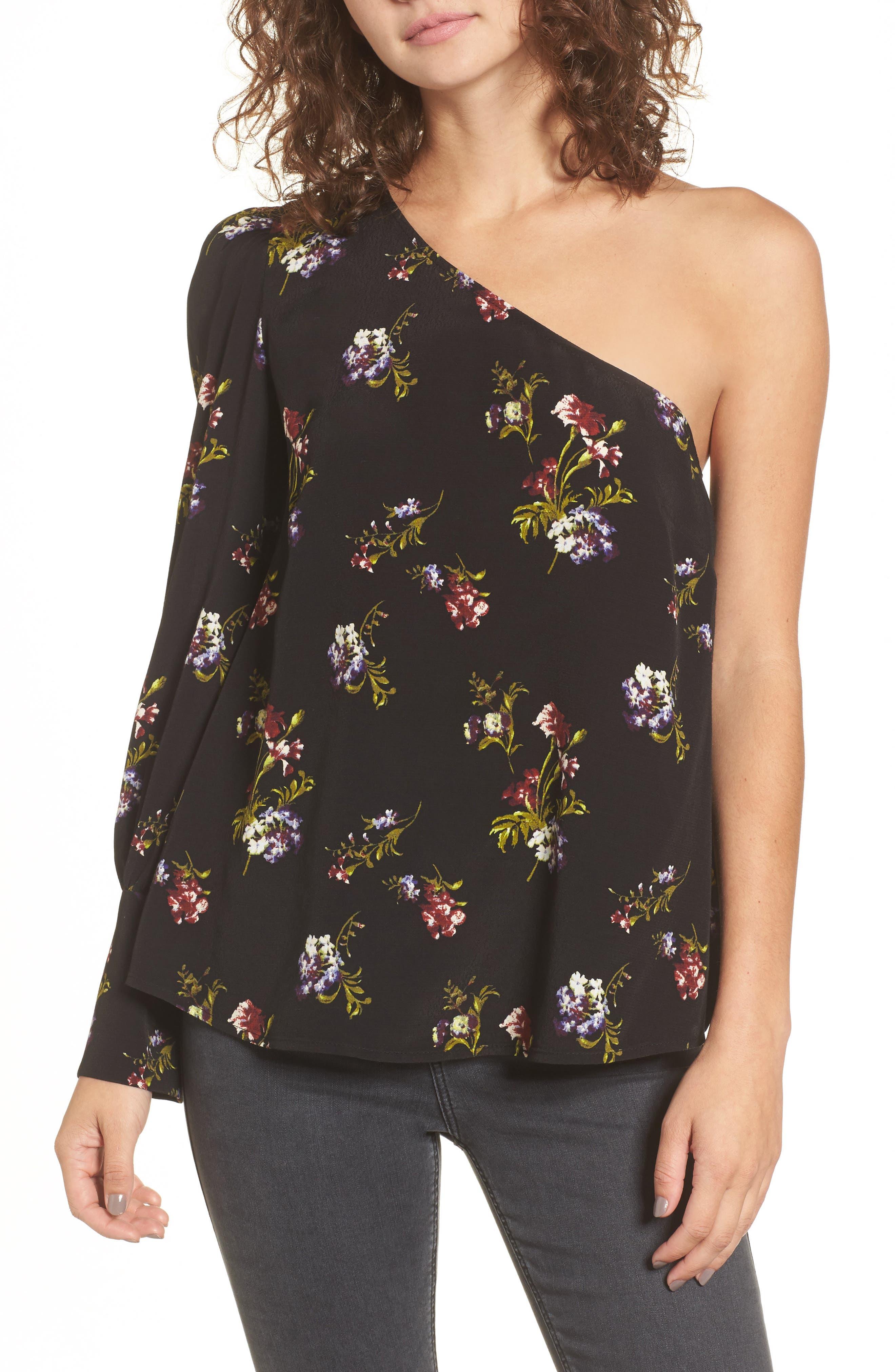 Print One-Shoulder Top,                             Main thumbnail 1, color,                             Black Falling Bouquet