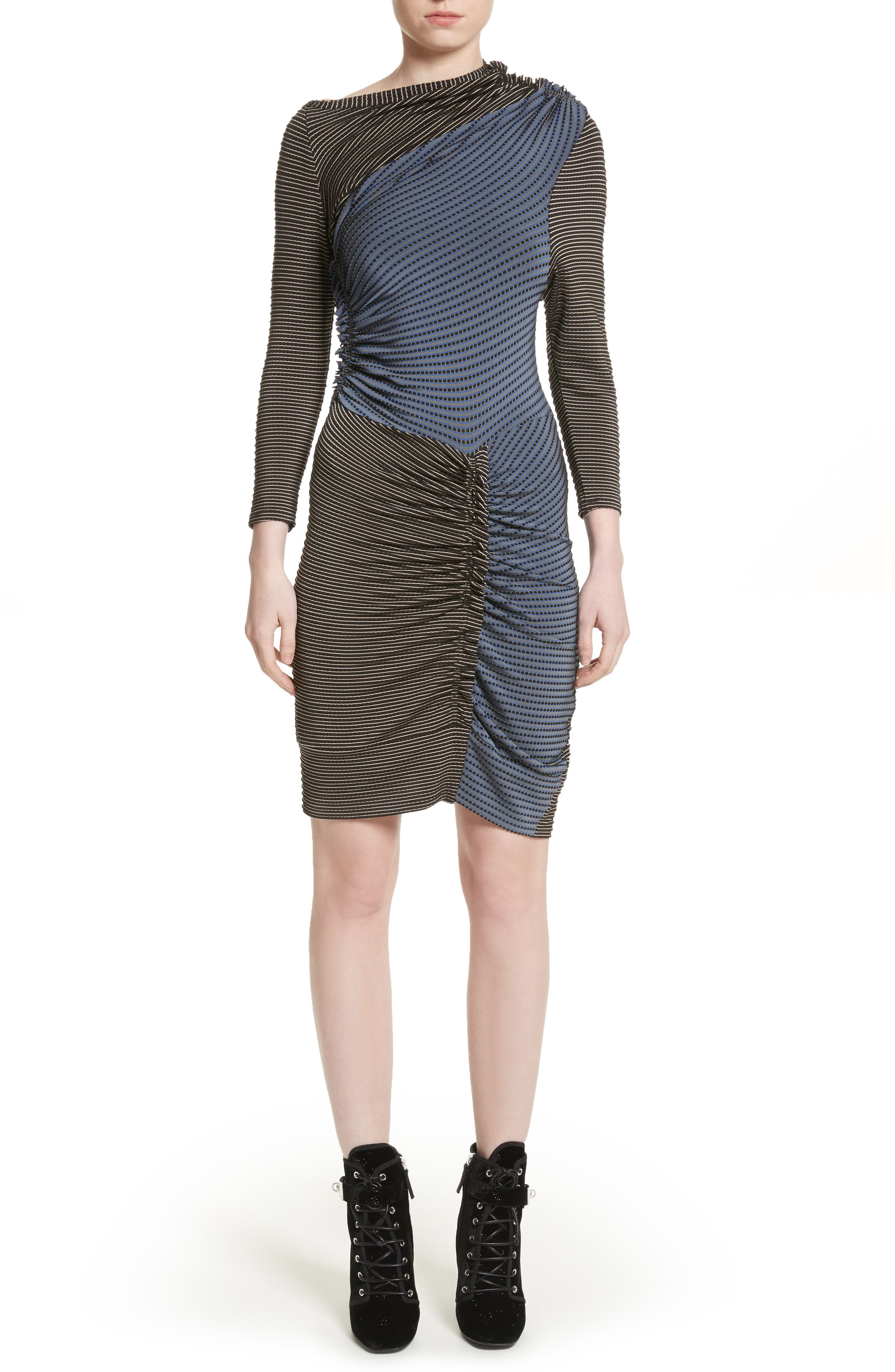Gathered Jersey Jacquard Dress,                             Main thumbnail 1, color,                             Blue/ Black