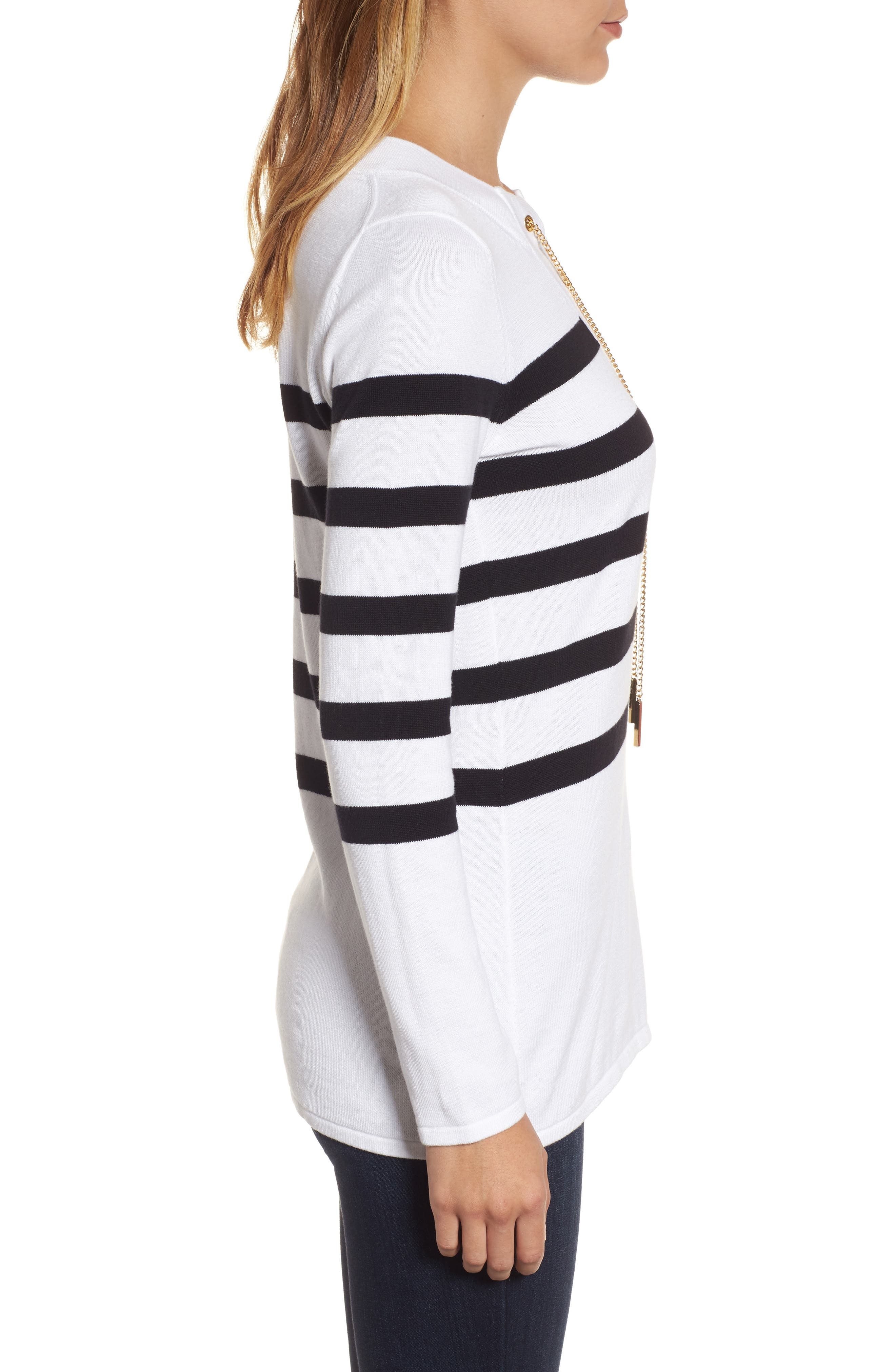 Laced Chain Tunic,                             Alternate thumbnail 3, color,                             White/ Black