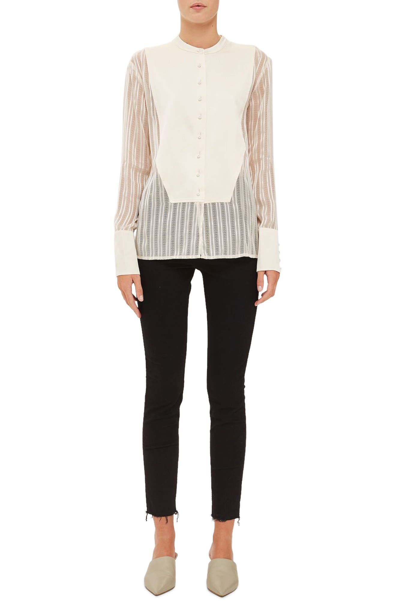 Alternate Image 1 Selected - Topshop Satin Bib Shirt