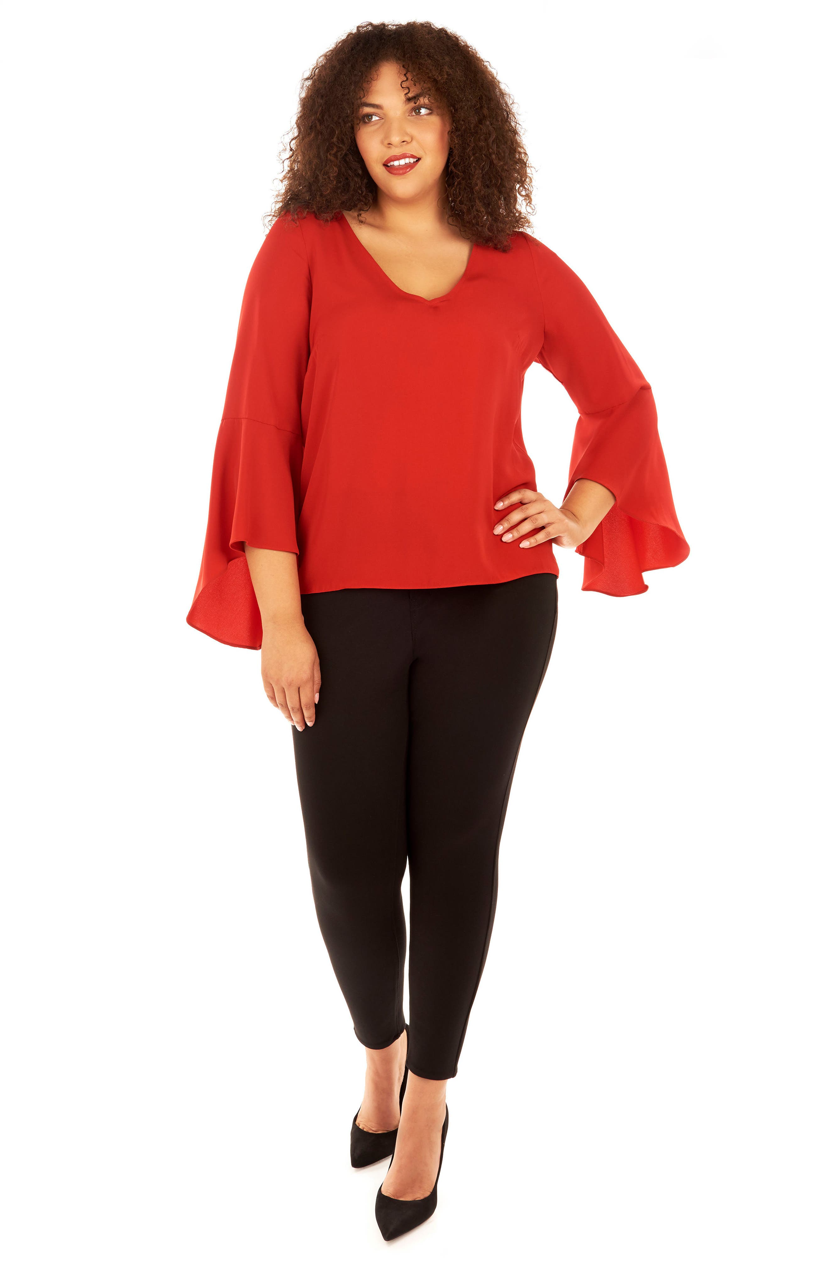 Bell Sleeve Top,                             Alternate thumbnail 4, color,                             Haute Red