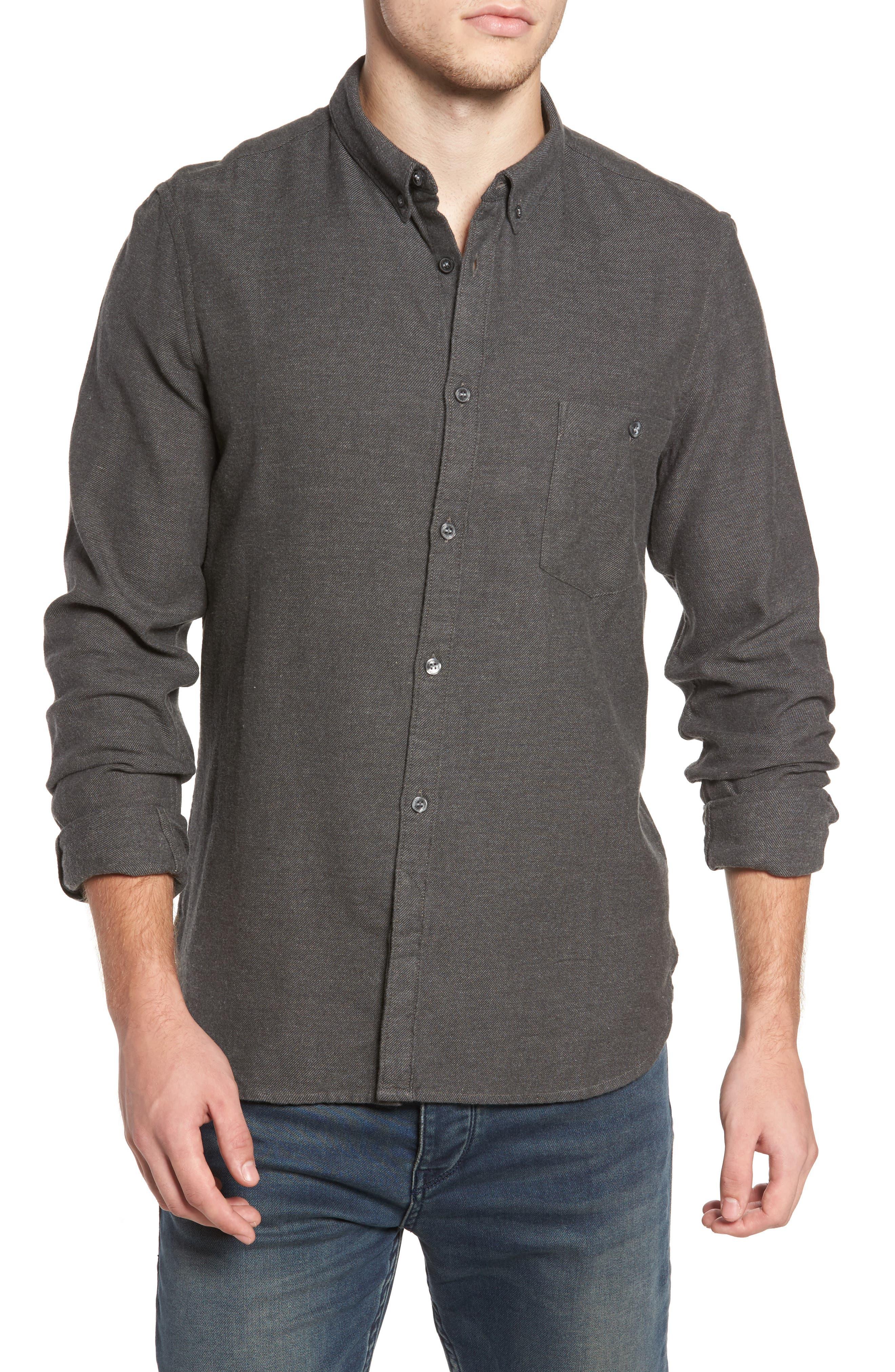 Regular Fit Flannel Sport Shirt,                         Main,                         color, Charcoal Mel