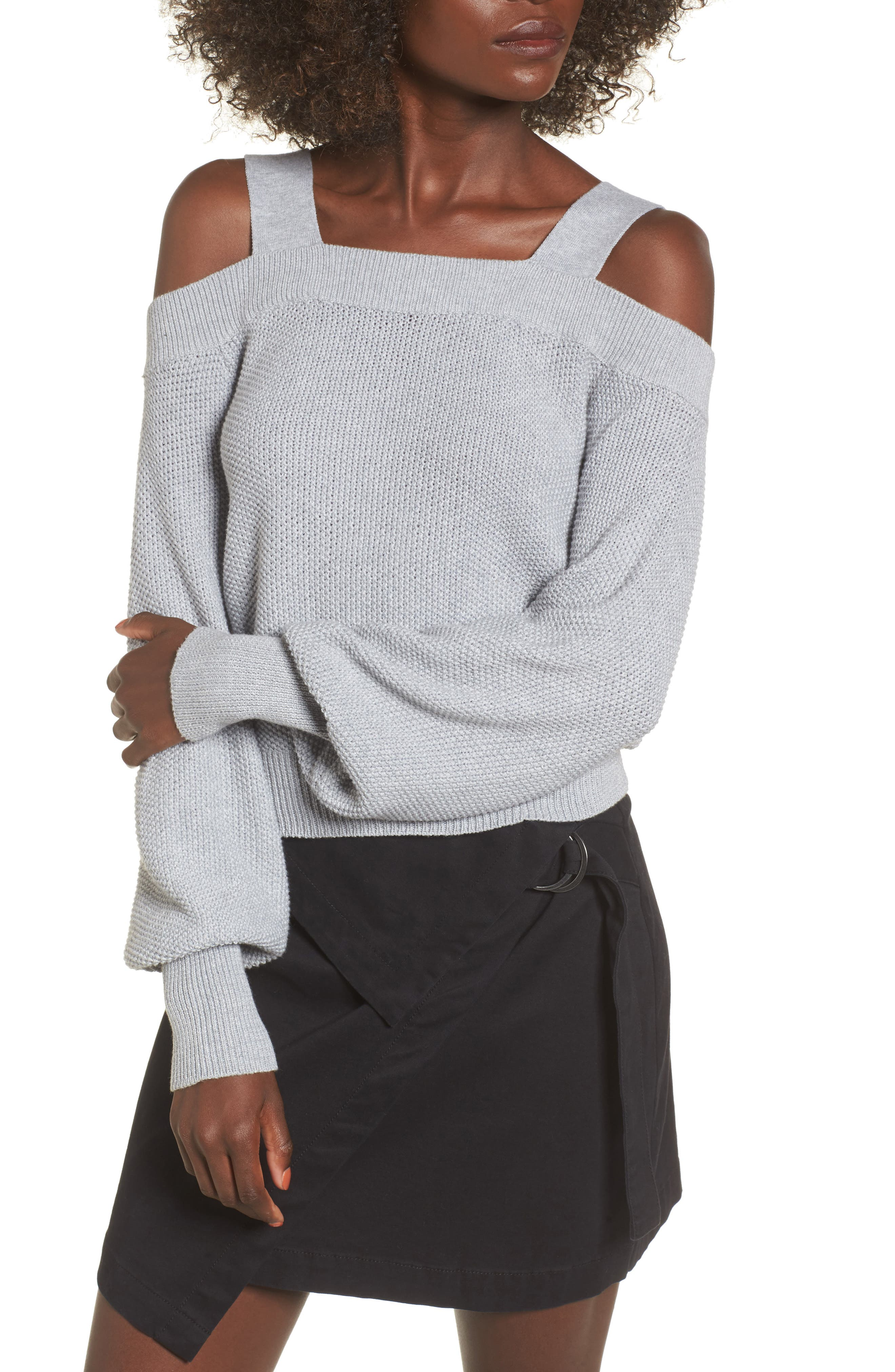 Lexi Cold Shoulder Sweater,                             Main thumbnail 1, color,                             Grey Marle