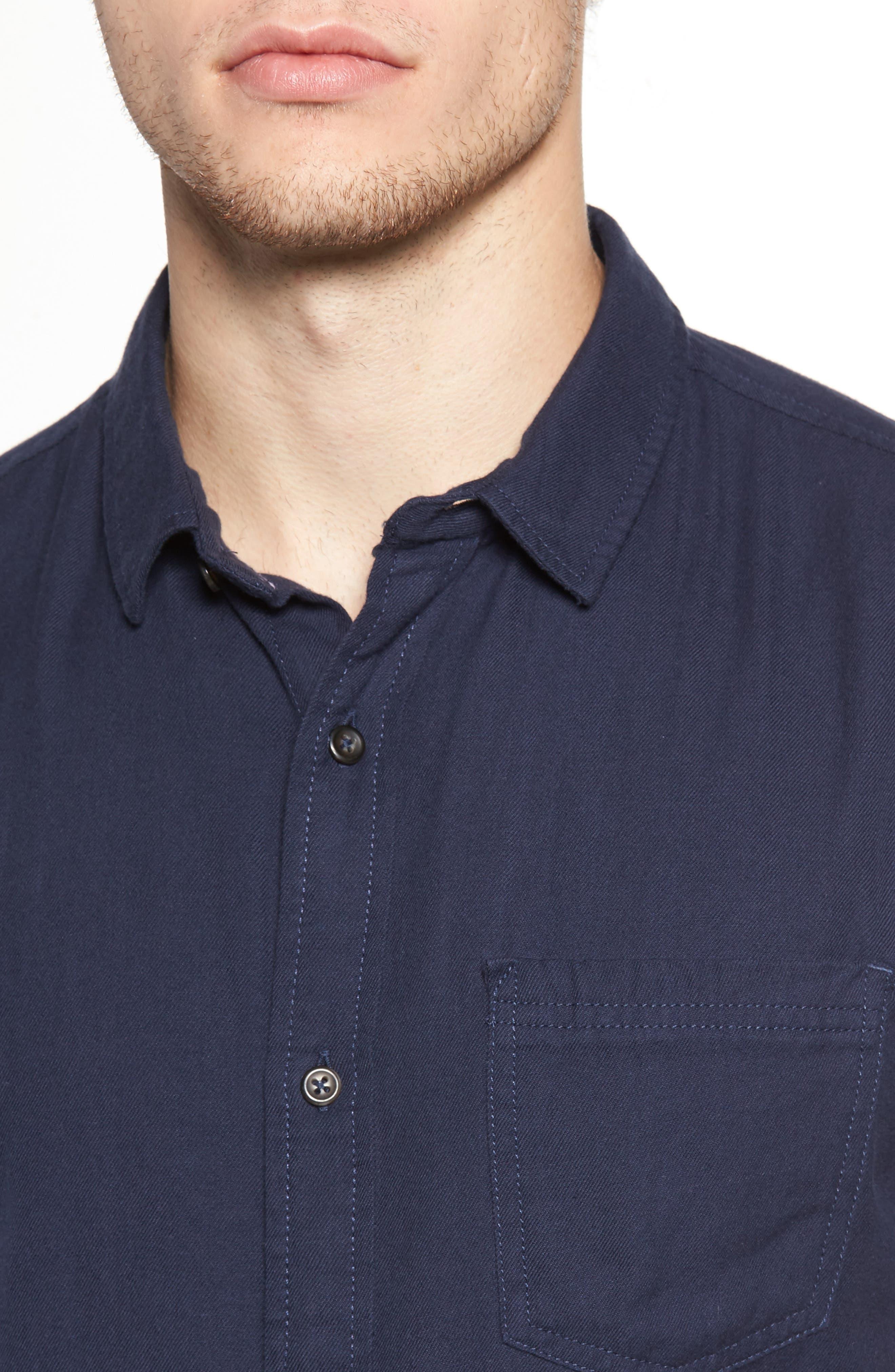 The Rail Short Sleeve Twill Shirt,                             Alternate thumbnail 4, color,                             Navy Iris
