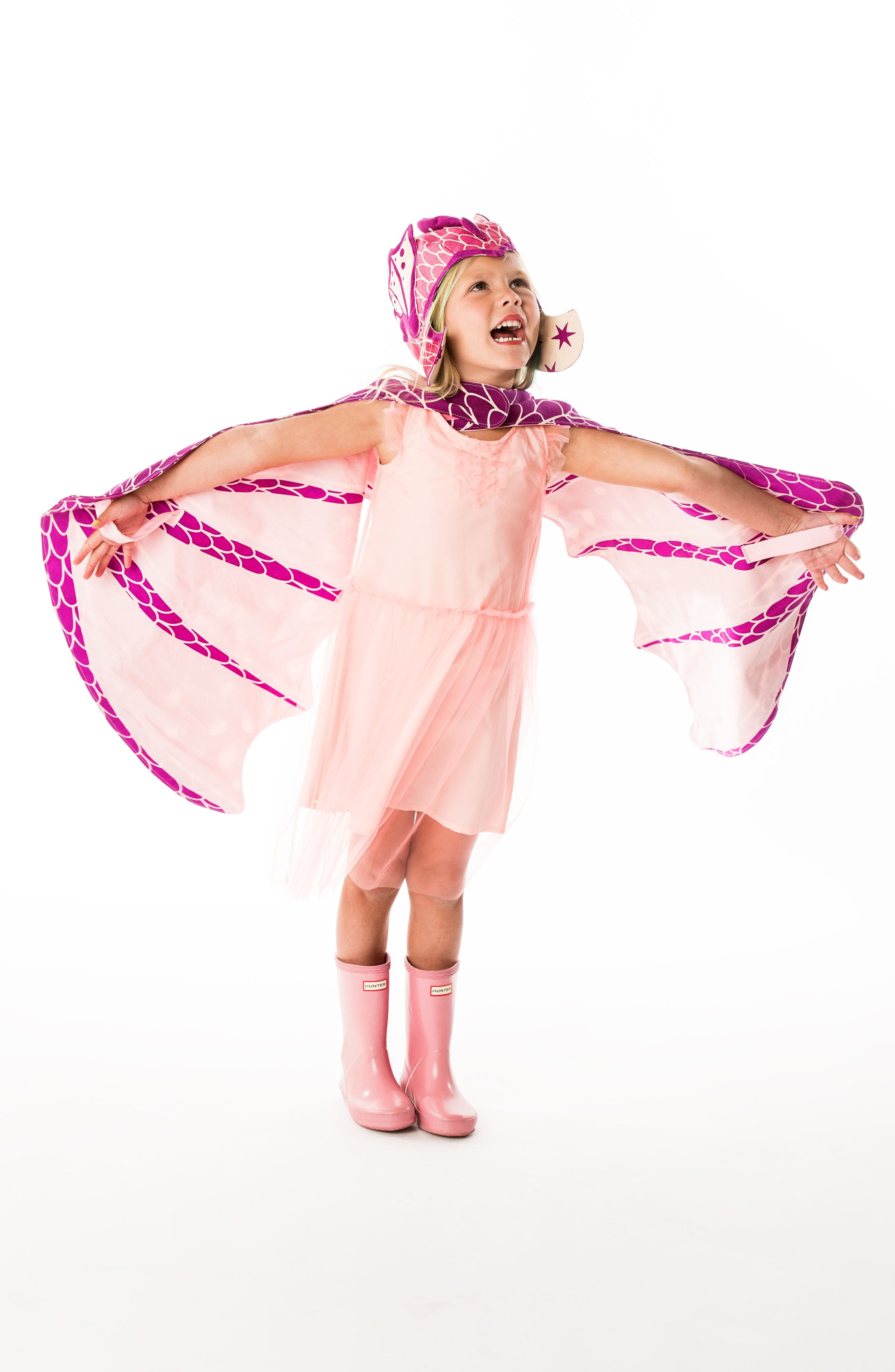 Dragon Wings & Hat Costume Set,                             Alternate thumbnail 3, color,                             Pink