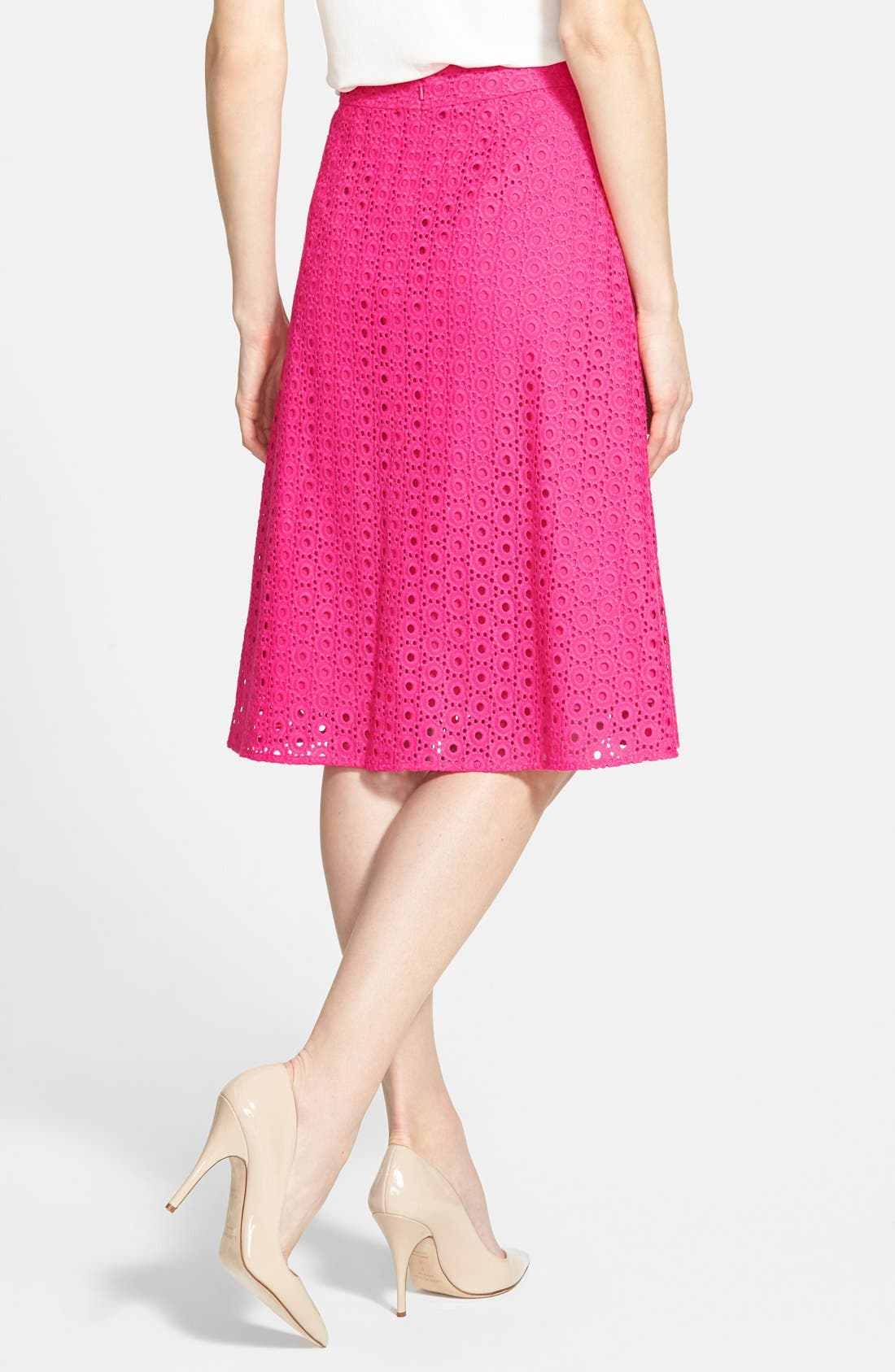 Eyelet Pleat Front Skirt,                             Alternate thumbnail 2, color,                             Pink Rouge