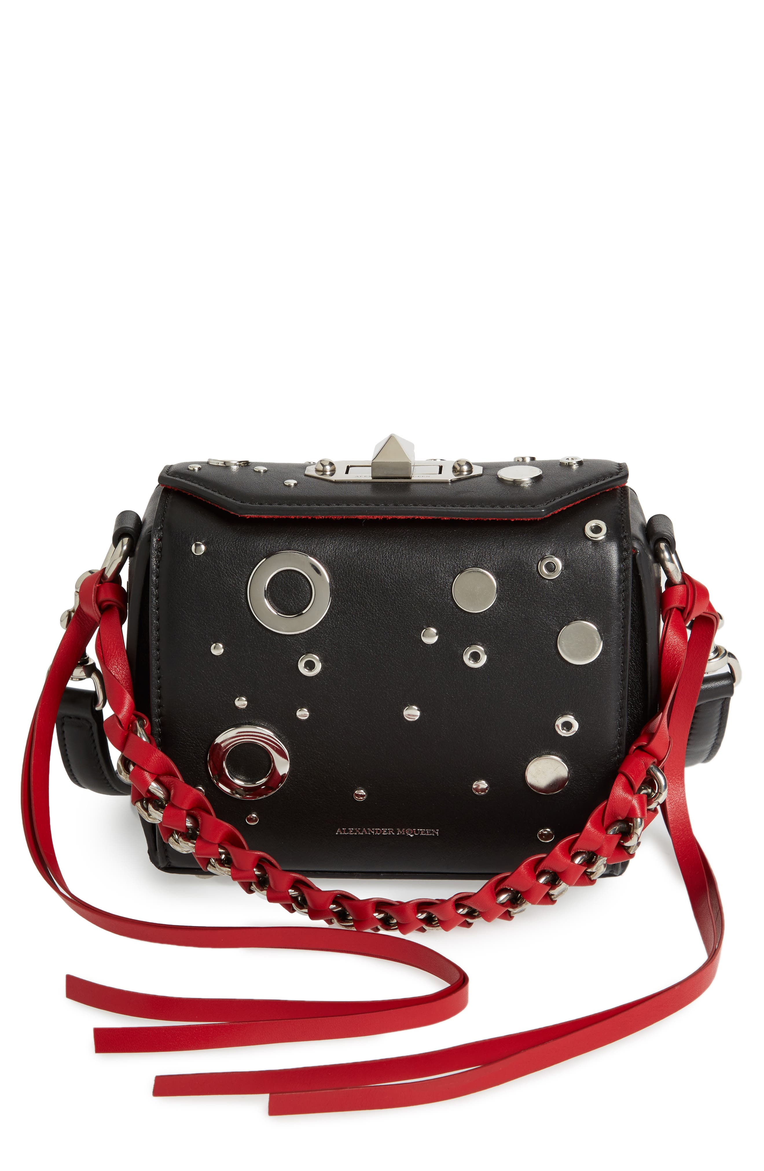 Box Bag 16 Matte Calfskin Bag,                         Main,                         color, Black/ Red