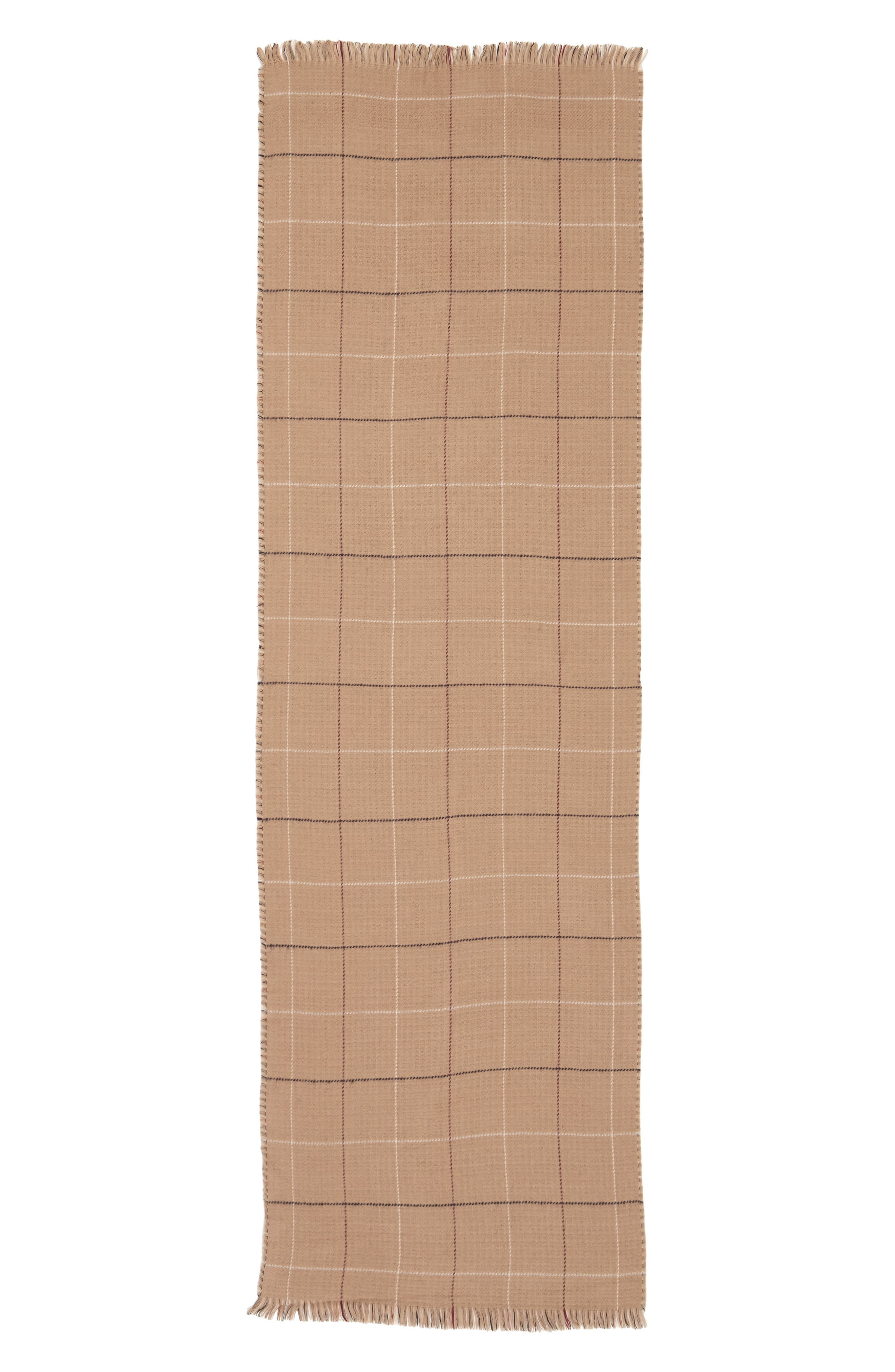 Reversible Houndstooth & Grid Scarf,                             Alternate thumbnail 3, color,                             Tan Multi