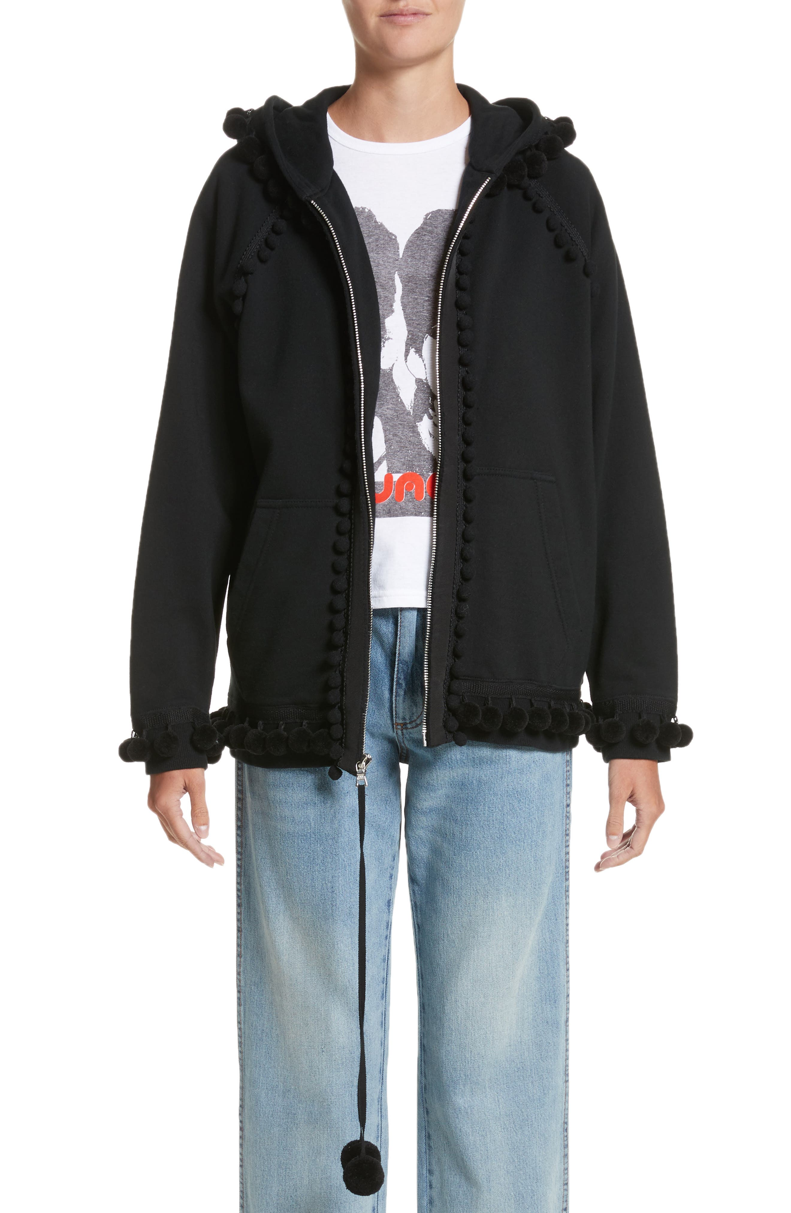 Pompom Trim Sweatshirt,                         Main,                         color, Black