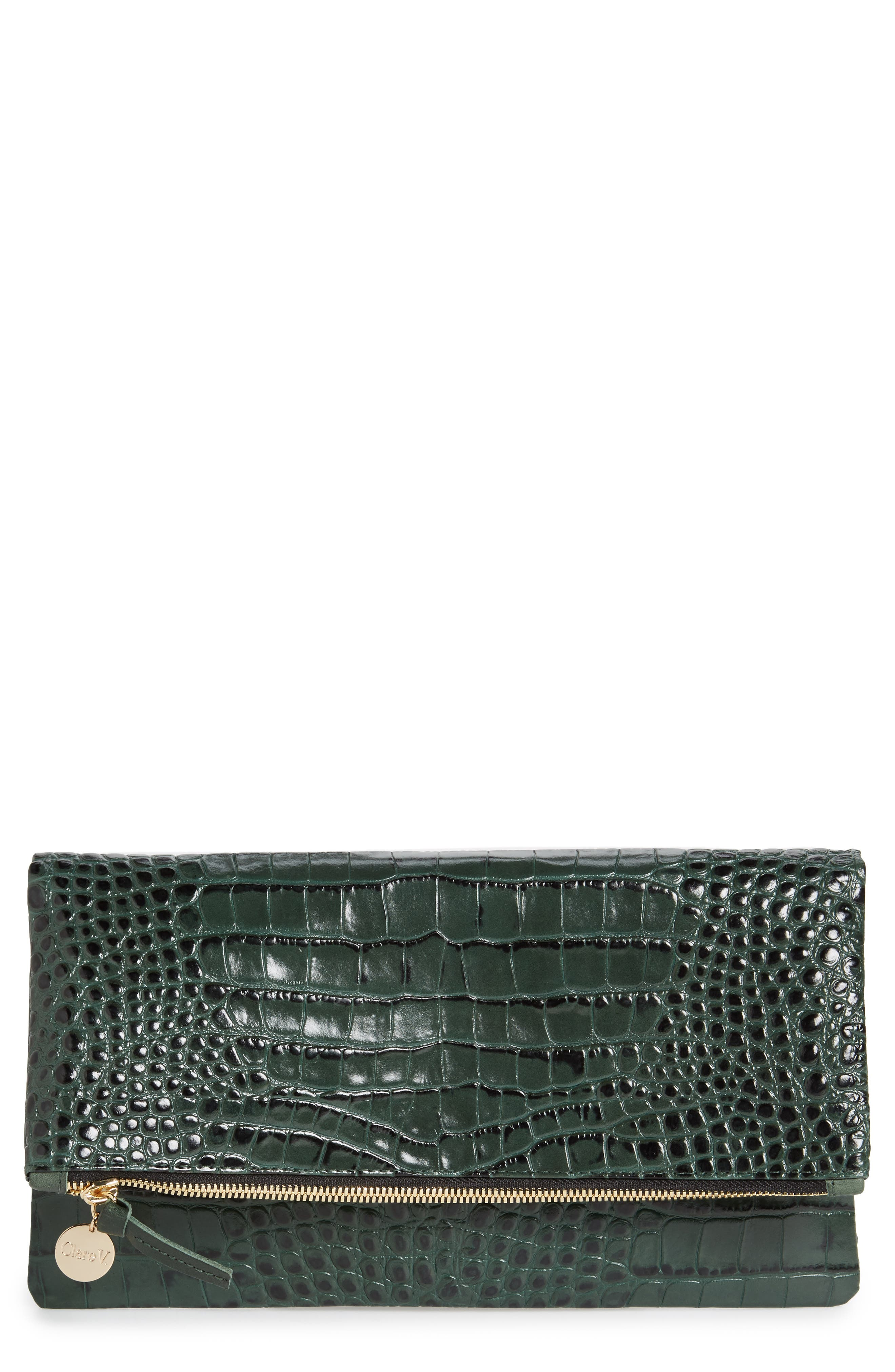 Main Image - Clare V. Croc Embossed Leather Foldover Clutch