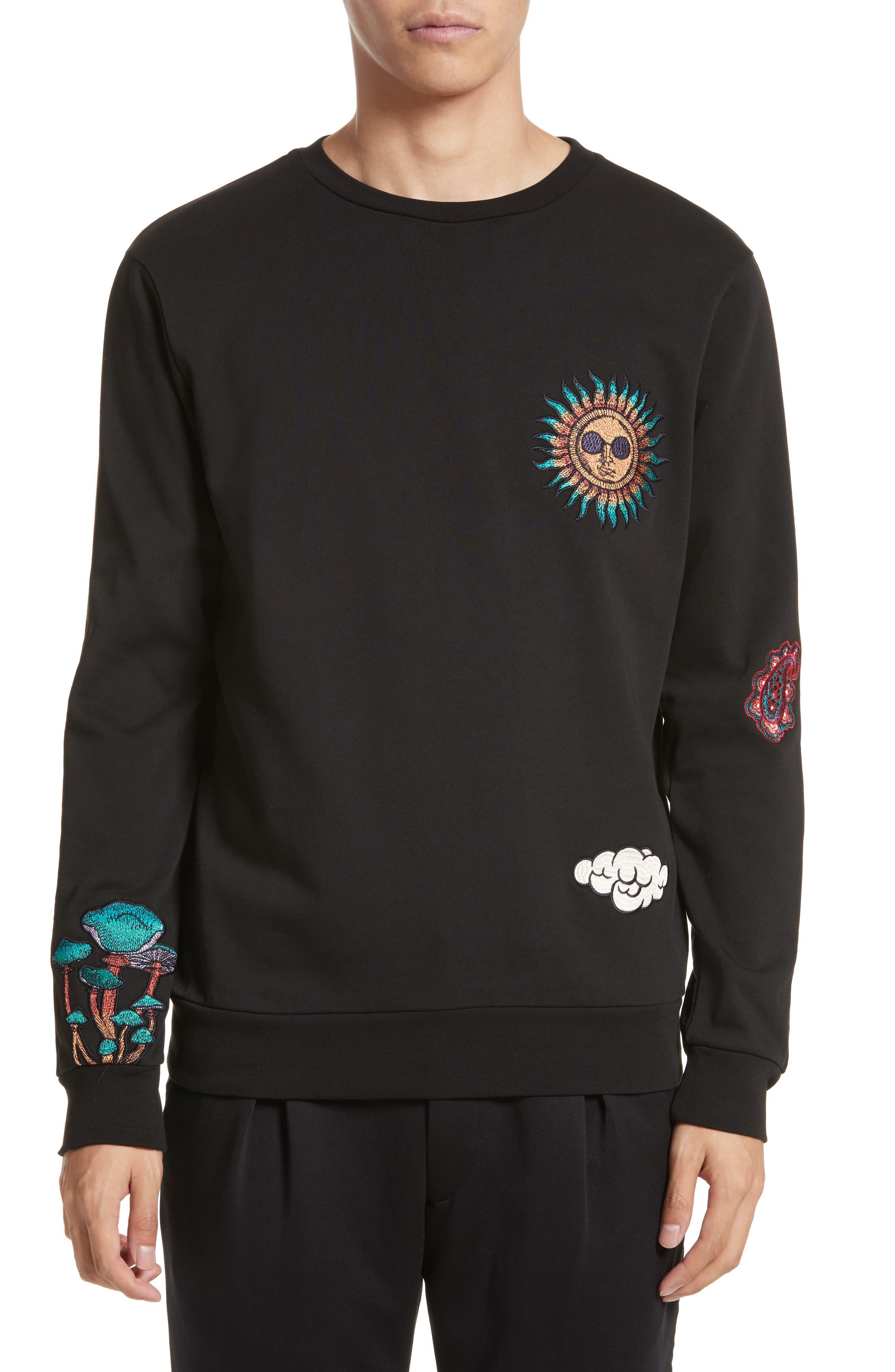 Embroidered Crewneck Sweatshirt,                         Main,                         color, Black