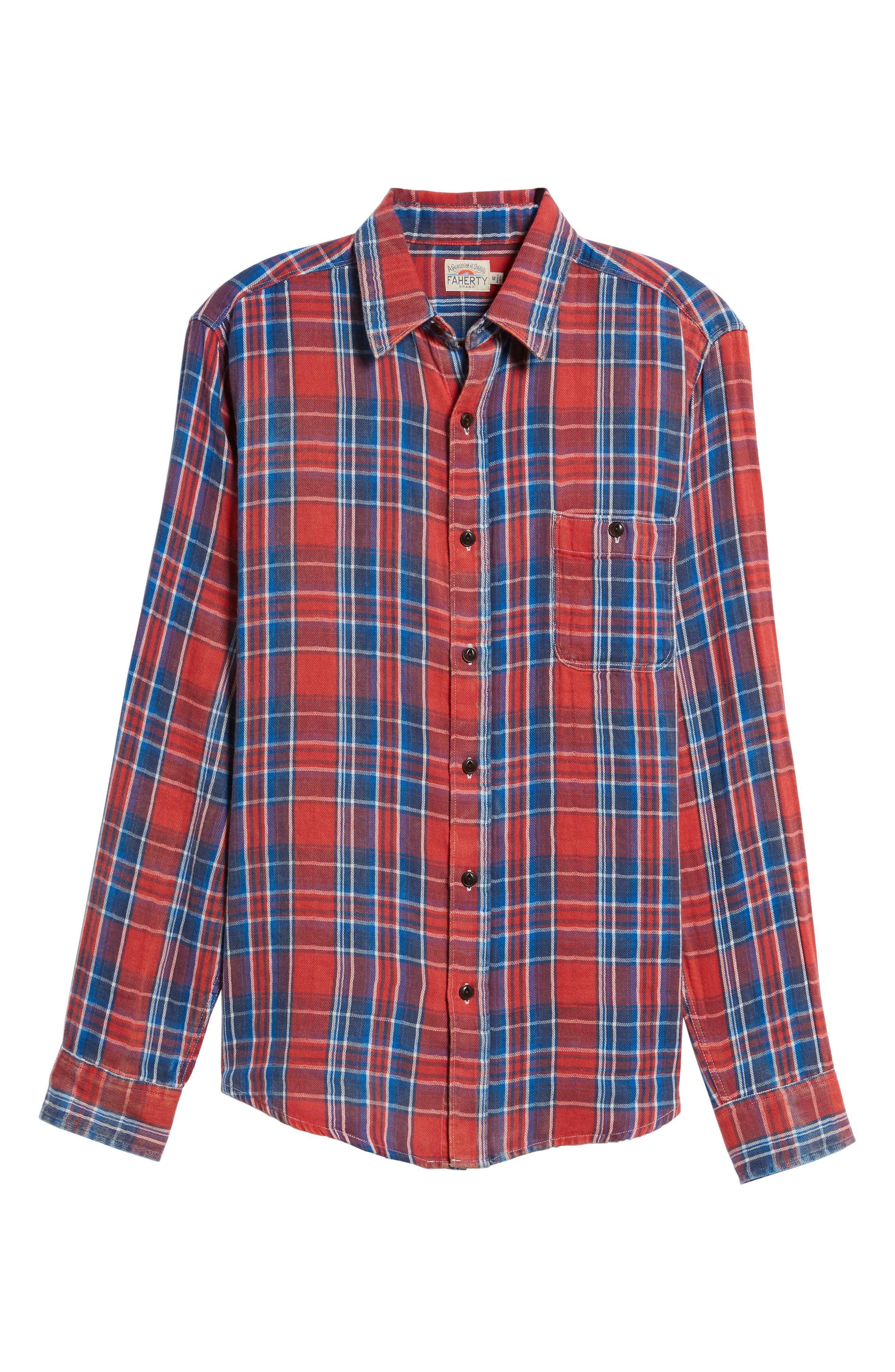 Plaid Sport Shirt,                             Alternate thumbnail 6, color,                             Red Farmer Plaid