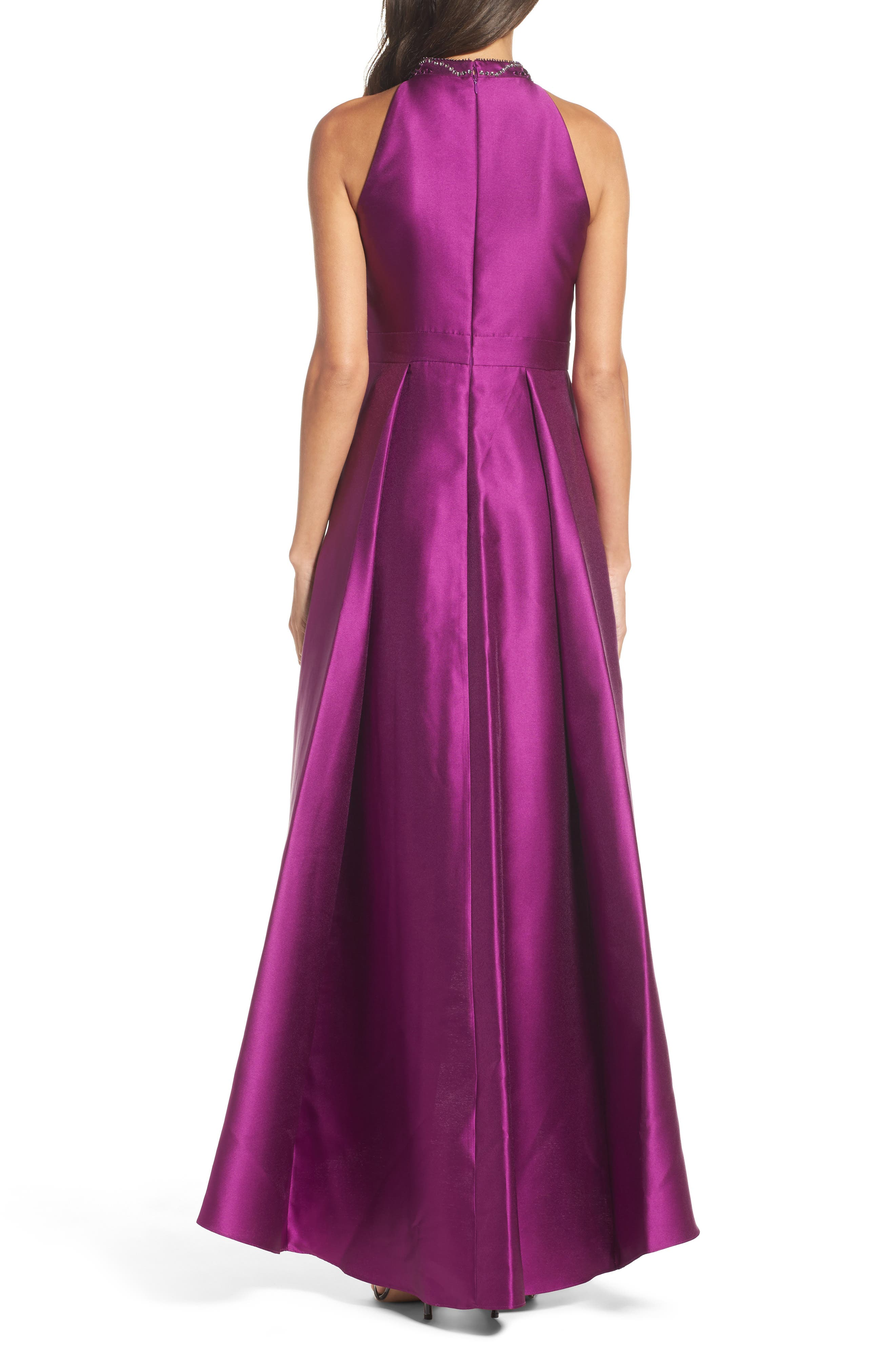 Embellished Mikado High/Low Gown,                             Alternate thumbnail 2, color,                             Ultra Berry