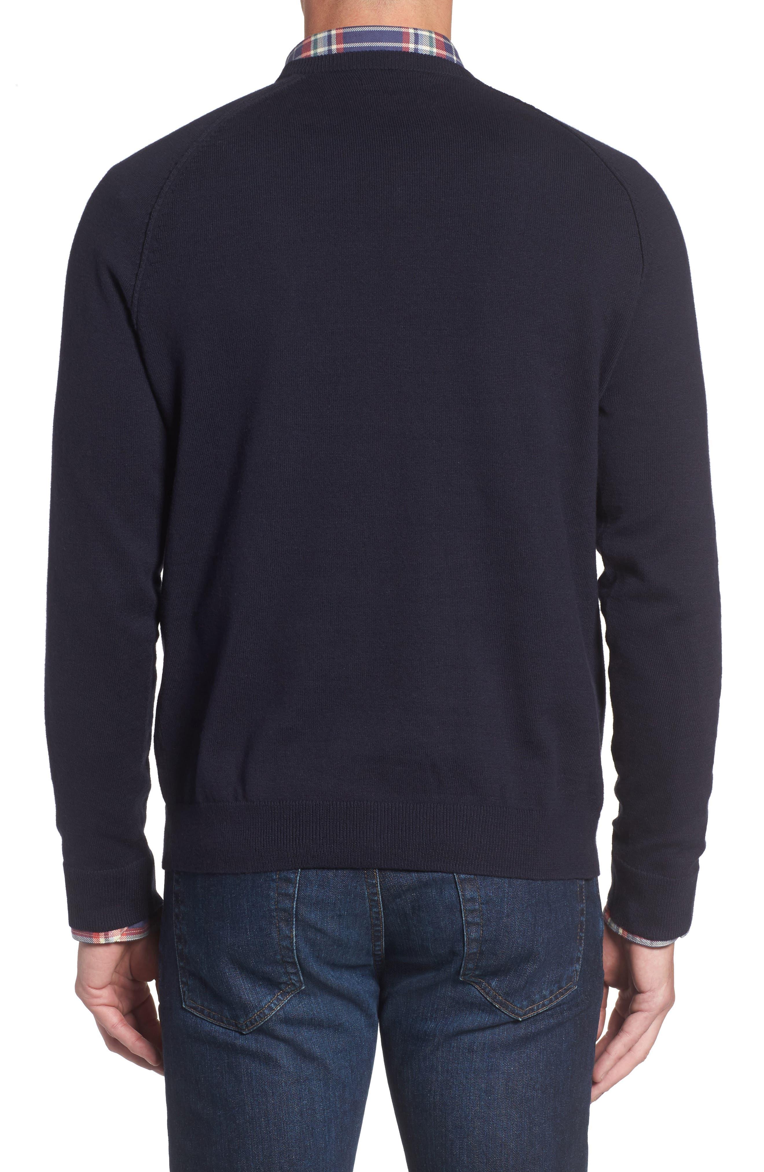 Saddle Shoulder Cotton & Cashmere V-Neck Sweater,                             Alternate thumbnail 2, color,                             Navy Night